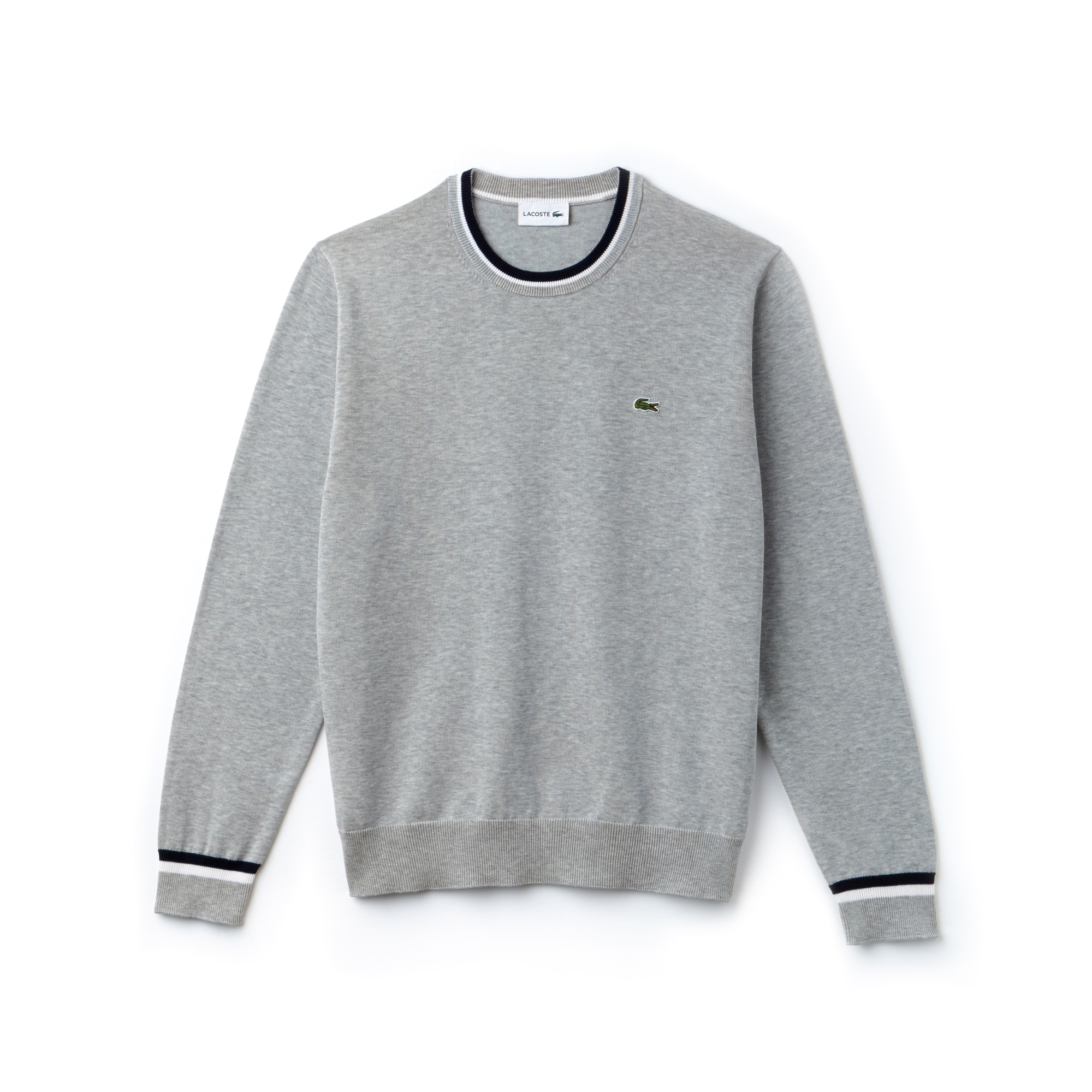 Men's Crew Neck Contrast Accents Pima Cotton Jersey Sweater