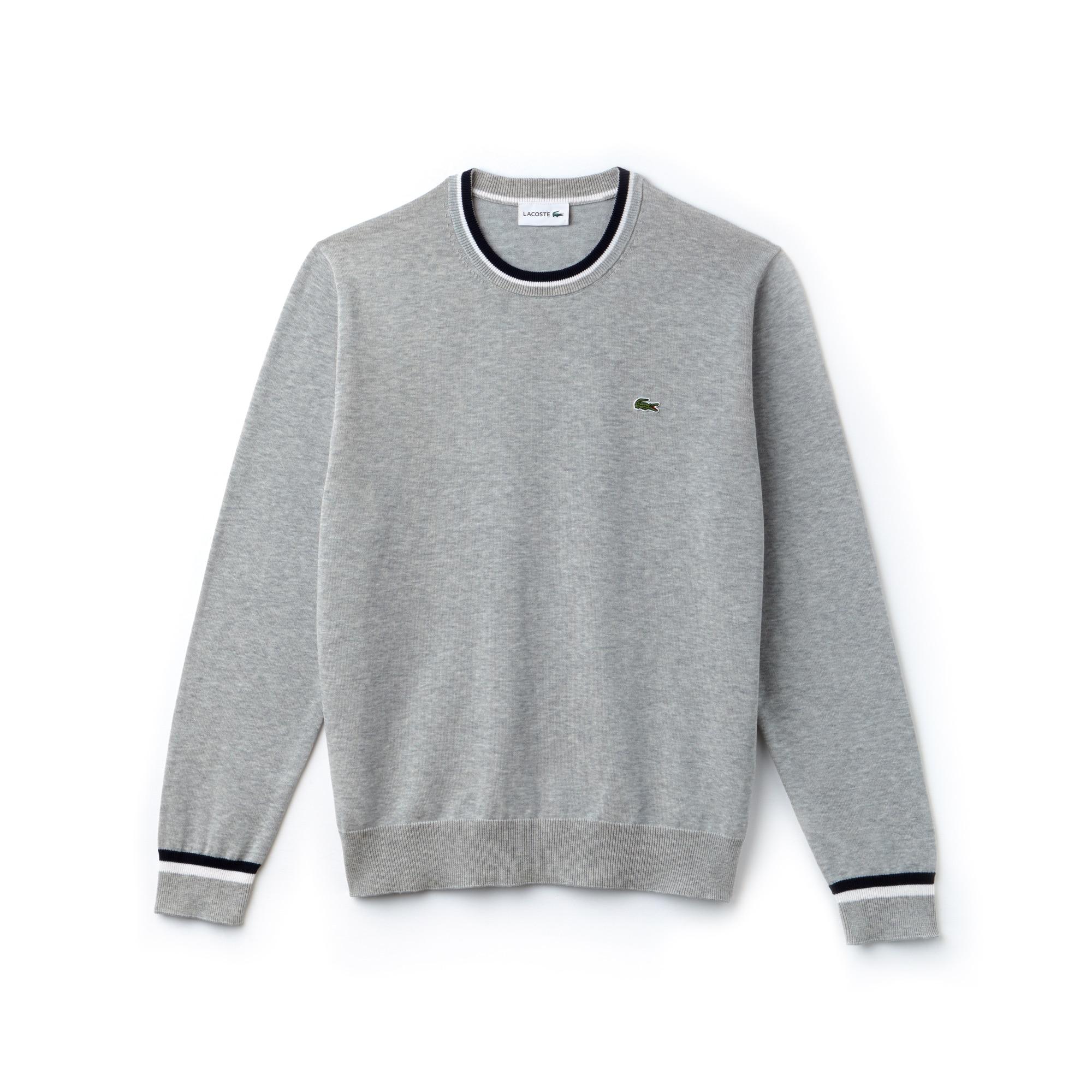 라코스테 스웨터 Lacoste Mens Crew Neck Contrast Accents Pima Cotton Jersey Sweater,pluvier chine/navy blue-w