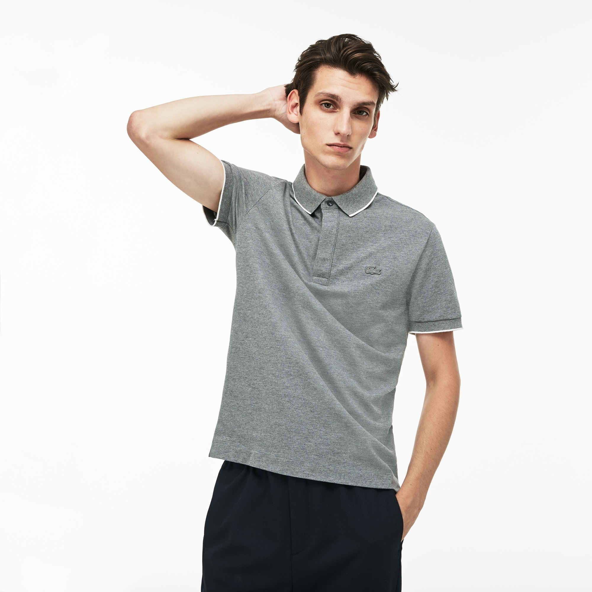 a06bf4311f Men'S Regular Fit Piped Stretch Piqué Polo in Grey / White