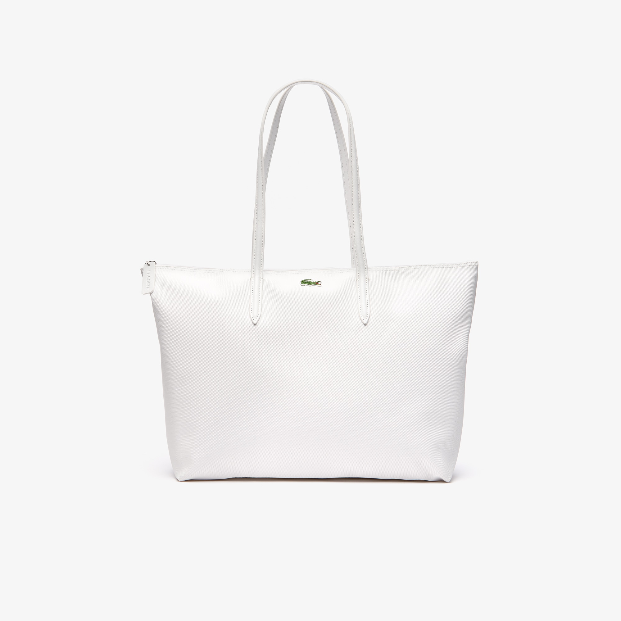 라코스테 Lacoste Womens L.12.12 Concept Zip Tote Bag,bright white