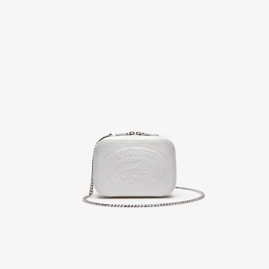 라코스테 악어 로고 체인 숄더백 - 머쉬멜로우 Lacoste Womens Croco Crew Grained Leather Zip Shoulder Bag,MARSHMALLOW - A56