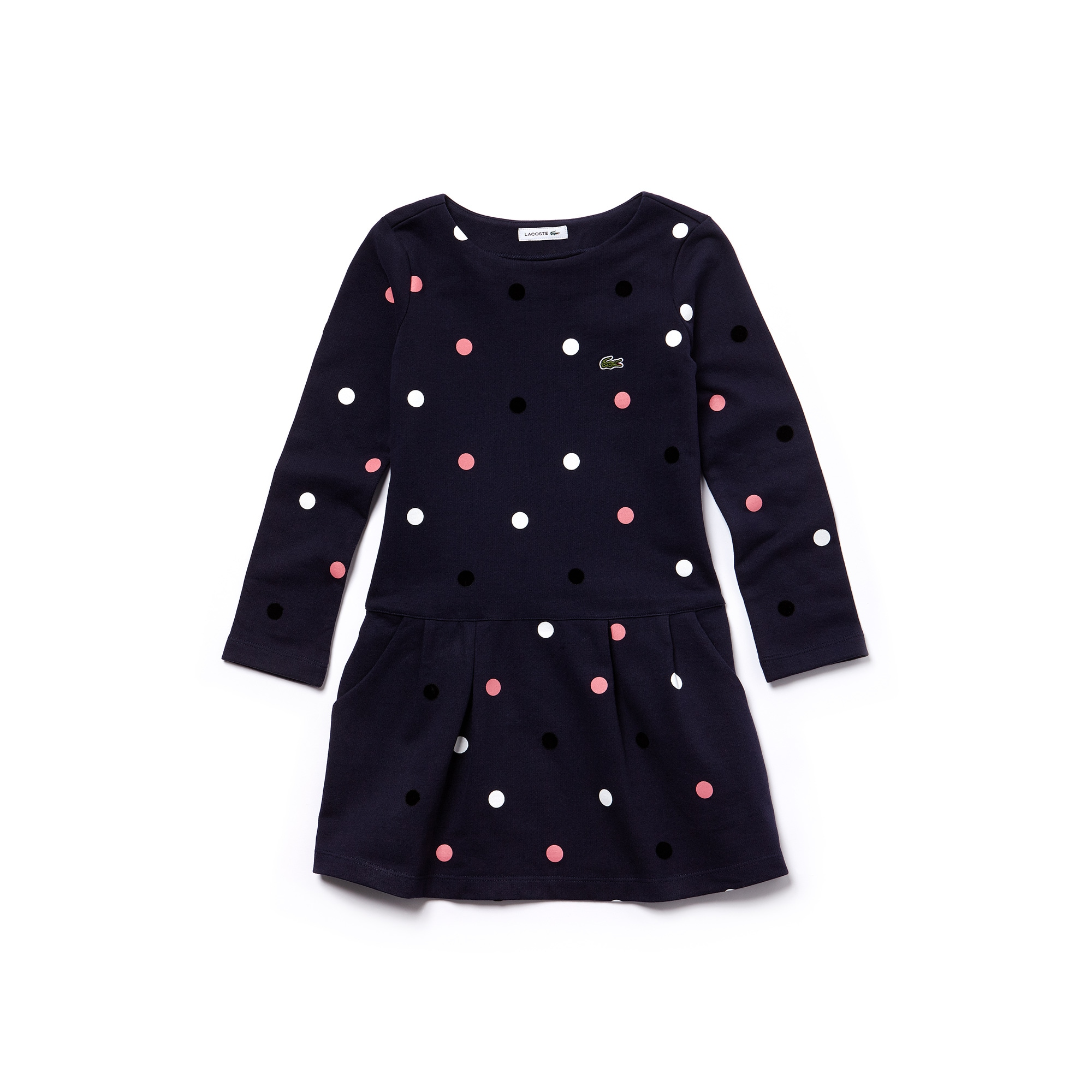 Girls' Polka Dot Stretch Cotton Fleece Sweatshirt Dress