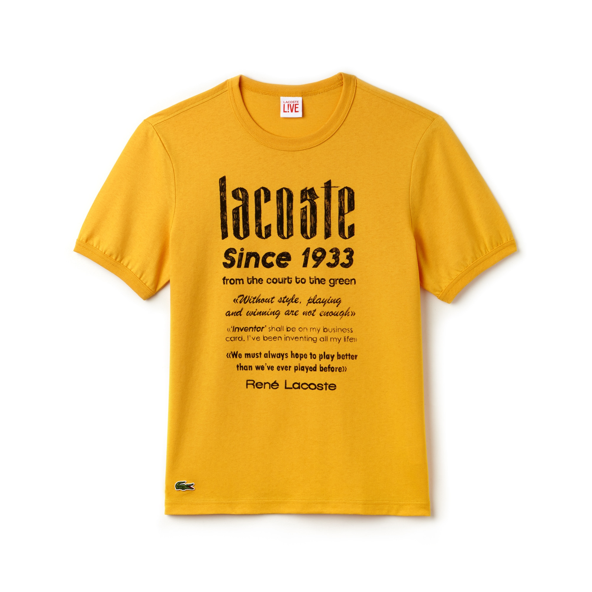 라코스테 Lacoste Mens LIVE Crew Neck Heritage Print Cotton Jersey T-shirt,kumquat/black