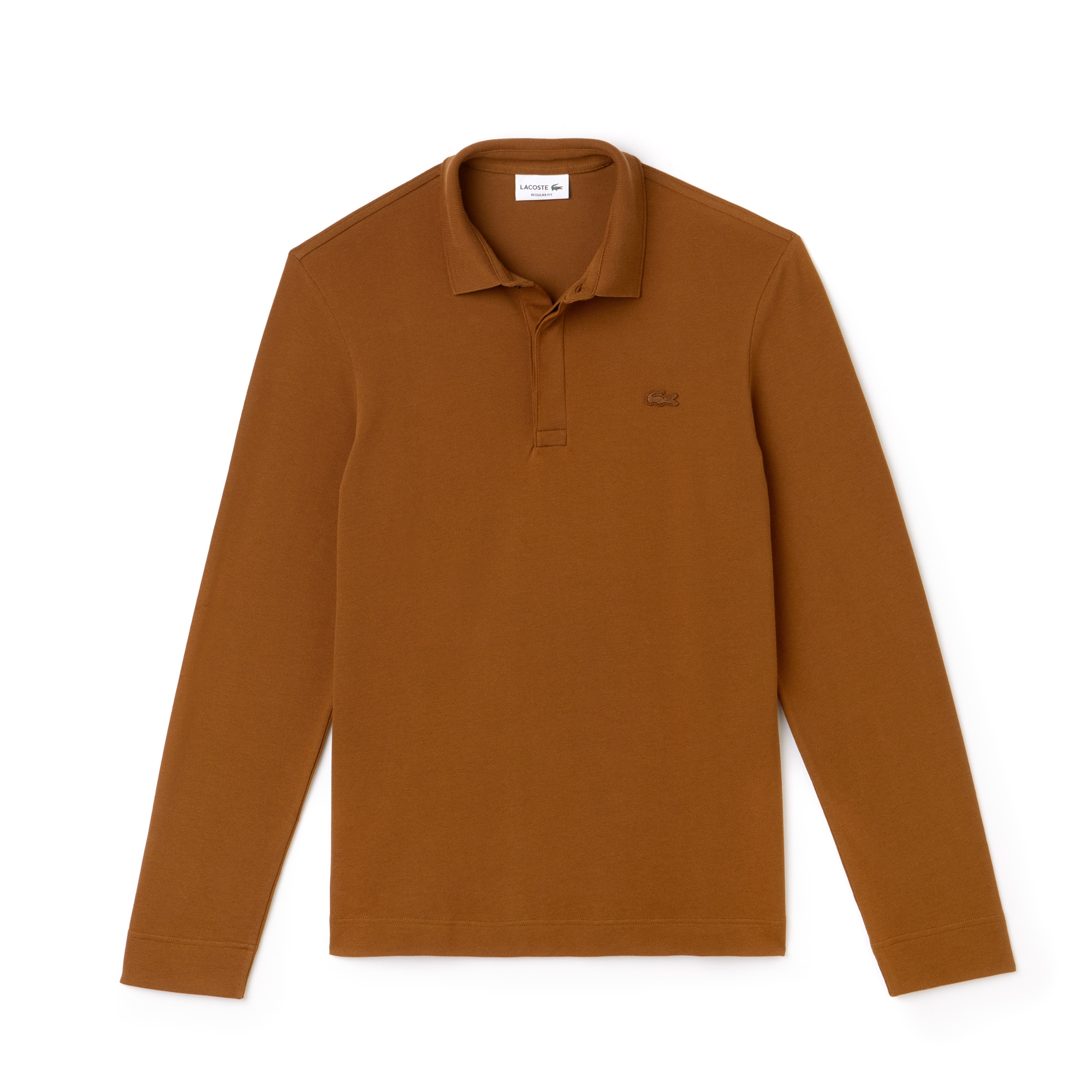 라코스테 Lacoste Mens Long-sleeve Paris Polo Regular Fit Stretch Cotton Pique,dark renaissance brown