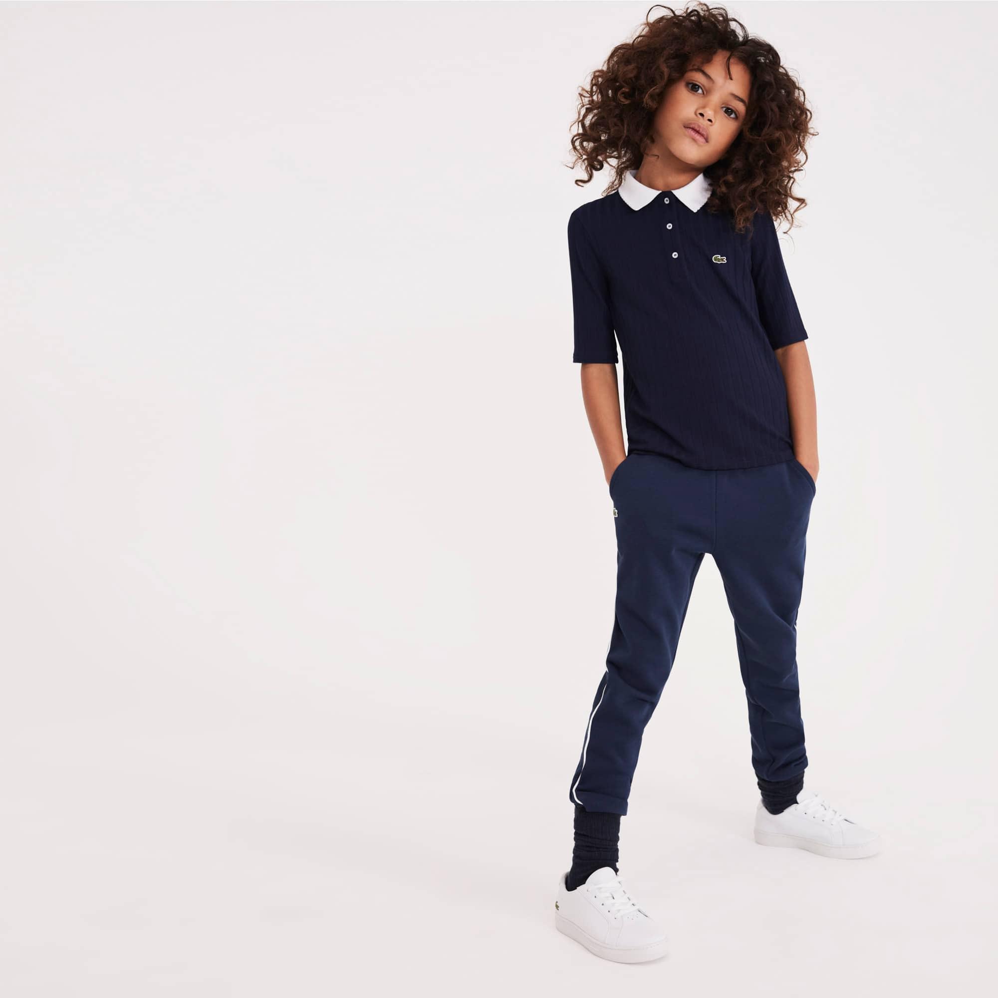 라코스테 Lacoste Girls Contrast Neck Stretch Ribbed Knit Polo,Navy Blue / White • 525