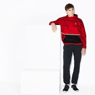 라코스테 Lacoste Mens SPORT Water-Resistant Windbreaker,Red / Black - 938 (Selected colour)