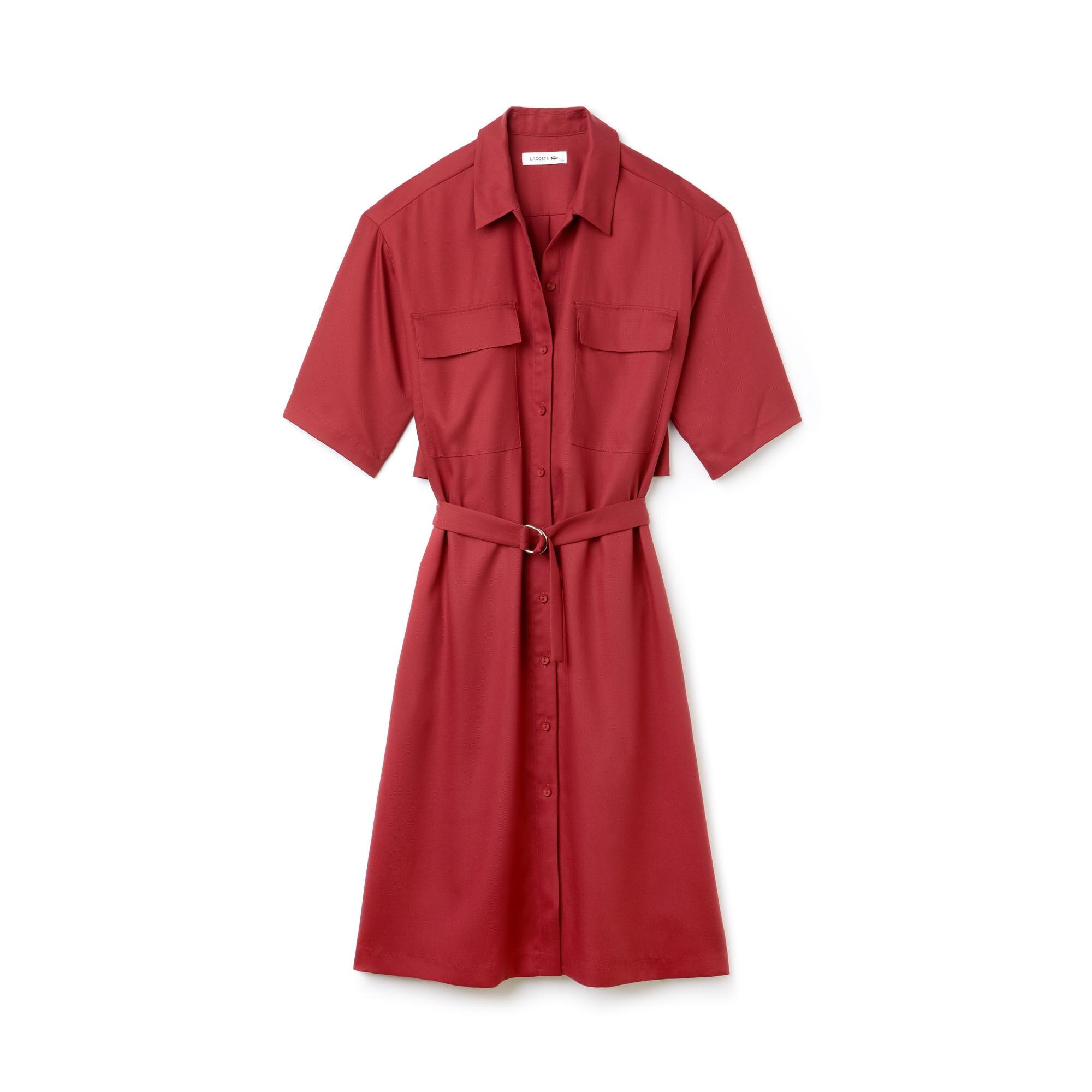 라코스테 피케 원피스, 벨티드 피케 셔츠 드레스 레드 Lacoste Womens Belted Pique Shirt Dress, autumnal red
