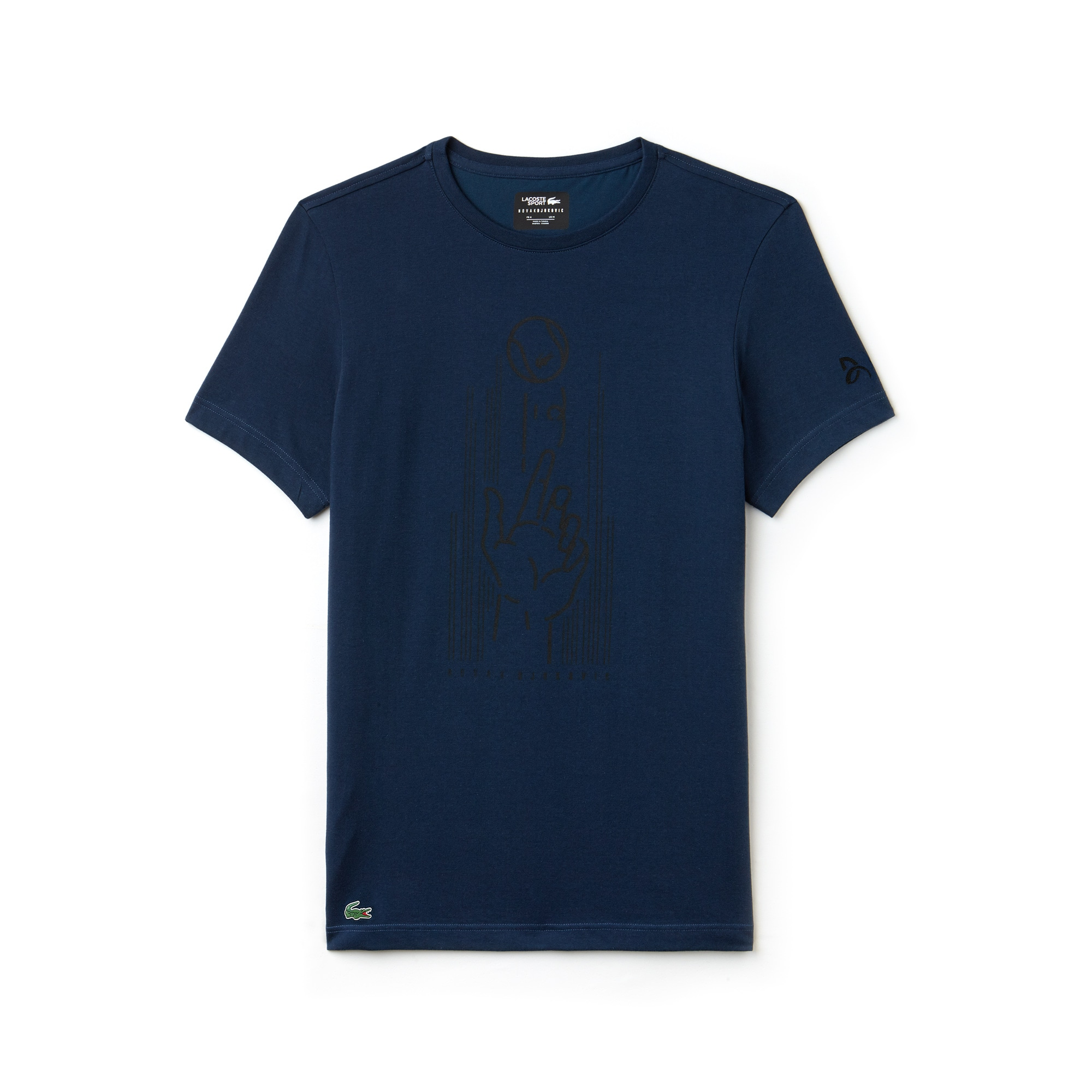 Men's SPORT Crew Neck Print Technical Jersey T-shirt - Lacoste x Novak Djokovic Support With Style - Off Court Collection