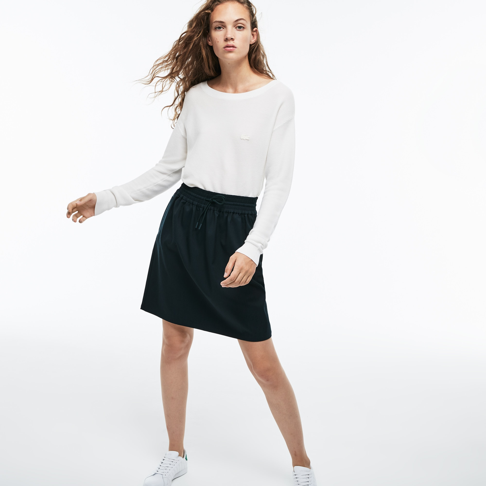 Women's Elasticized Waist Flowing Stretch Wool Knit Skirt