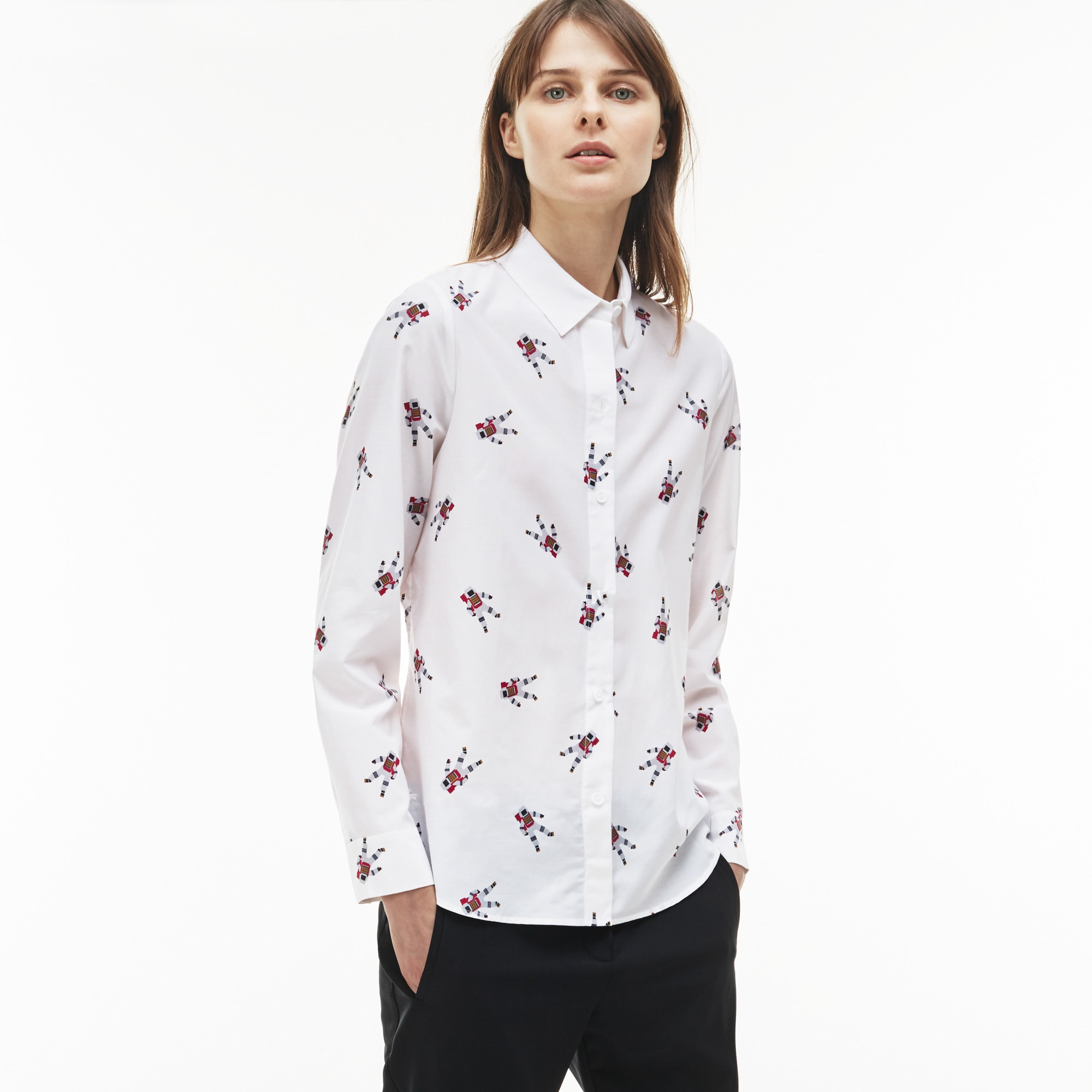 Women's Regular Fit Astronaut Print Cotton And Silk Voile Shirt