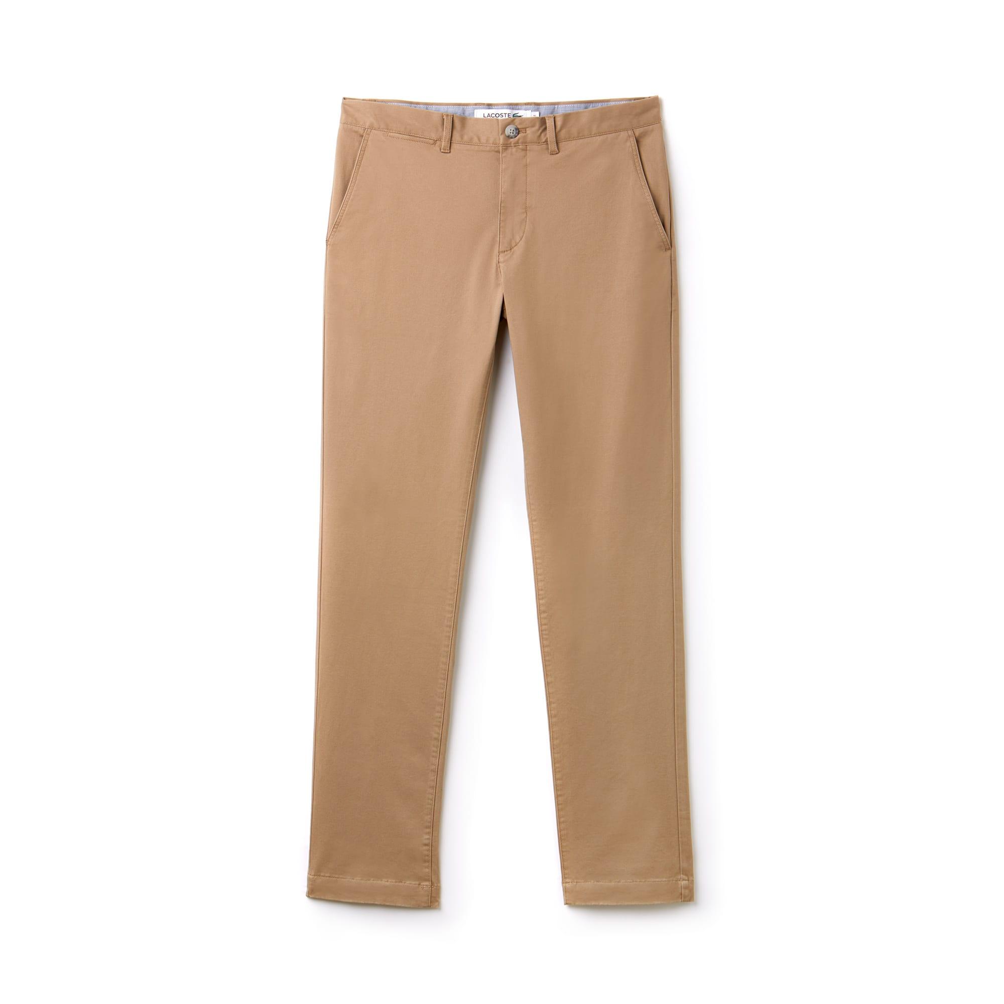 라코스테 Lacoste Mens Regular Fit Cotton Gabardine Chino Pants,beige