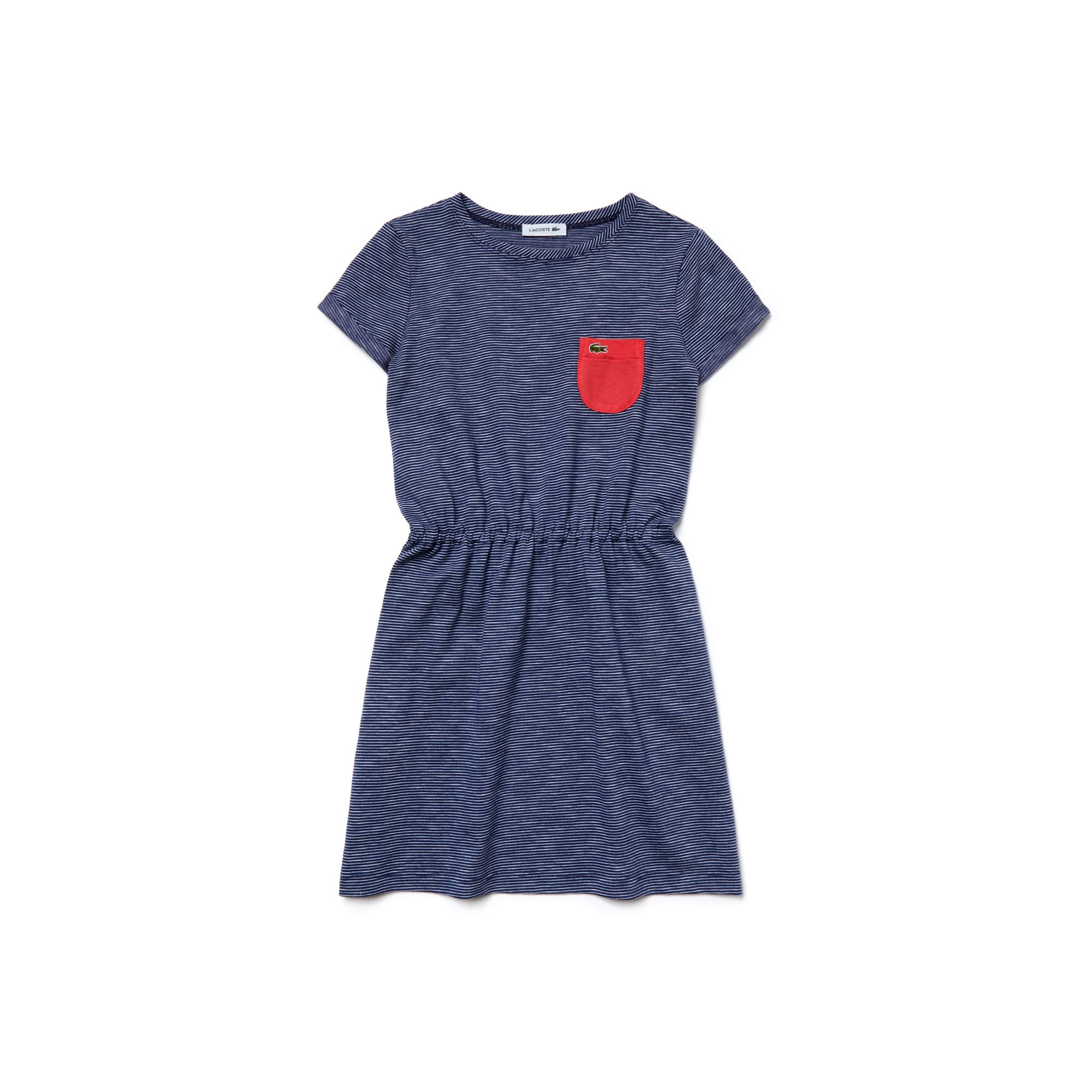 Girl's Contrast Pocket Striped Jersey Dress