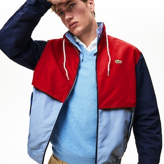 라코스테 Lacoste Mens Water-Resistant Full-Zip Jacket,Light Blue / Red / Navy Blue - 7DE (Selected colou