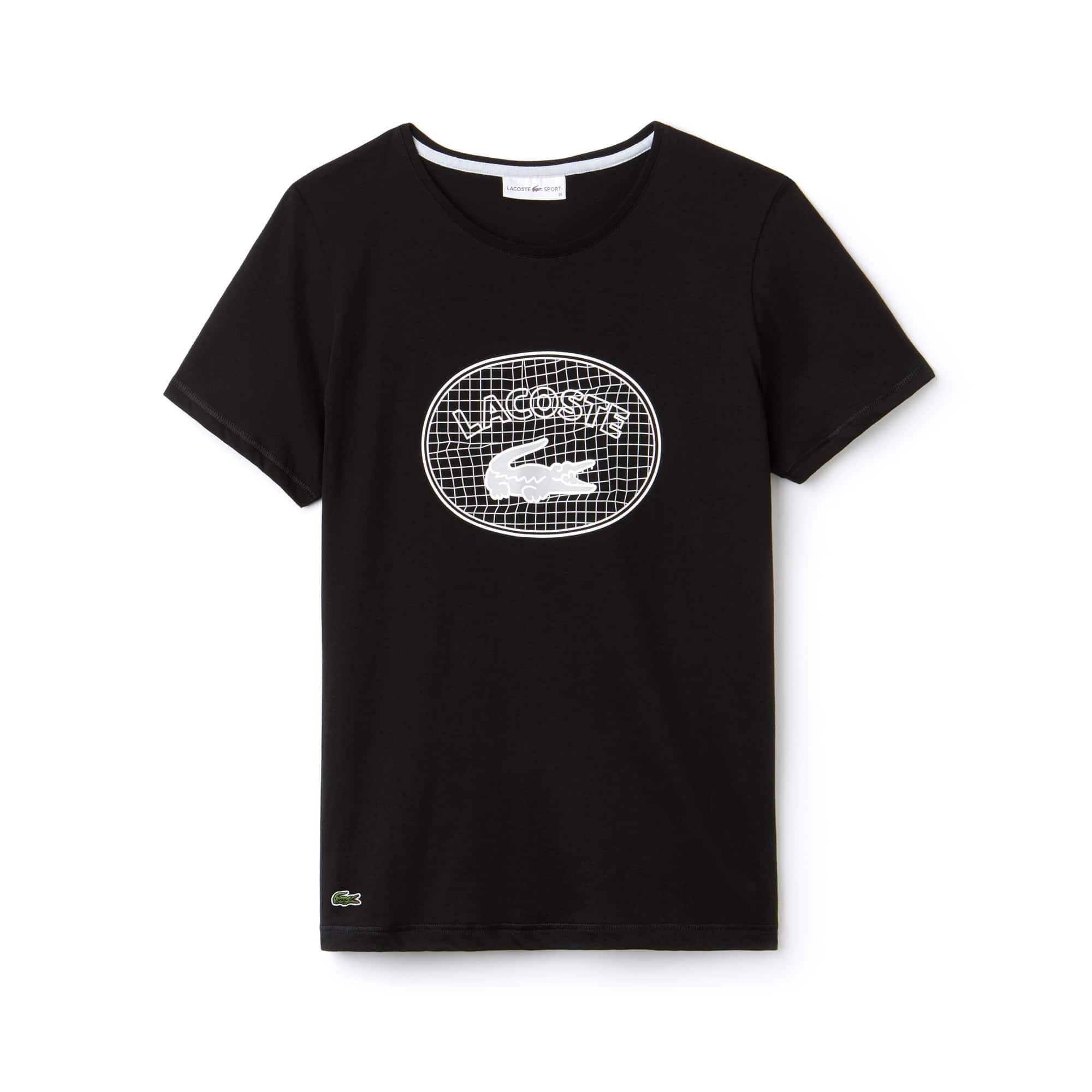 라코스테 Lacoste Womens SPORT Oversized Logo Design Jersey Tennis T-shirt,black / white / grey