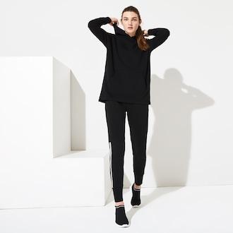라코스테 우먼 스포츠 테니스 플리스 후드티 Lacoste Womens SPORT Hooded Fleece Tennis Sweatshirt,Black - 031