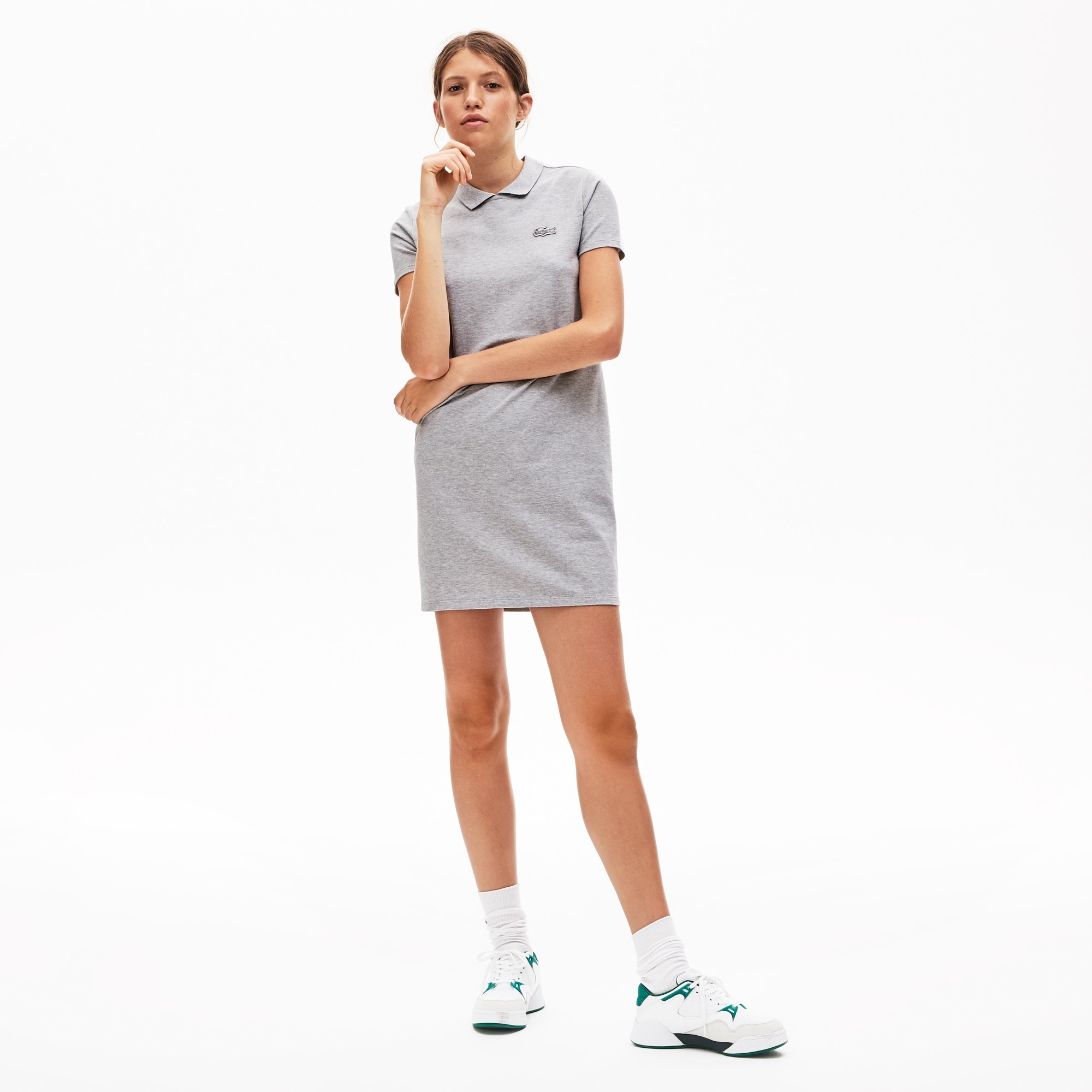 Lacoste Dresses Women's LIVE Stretch Piqué Velvet Crocodile Polo Dress
