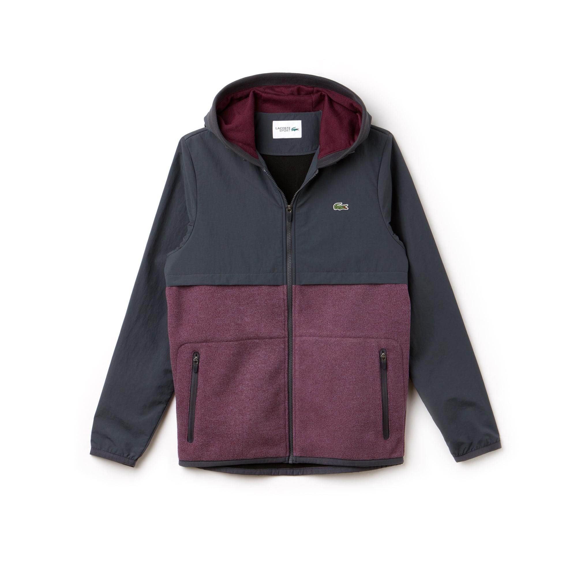 라코스테 Lacoste Mens SPORT Hooded Bi-Material Colorblock Tennis Jacket,graphite/blackberry chine