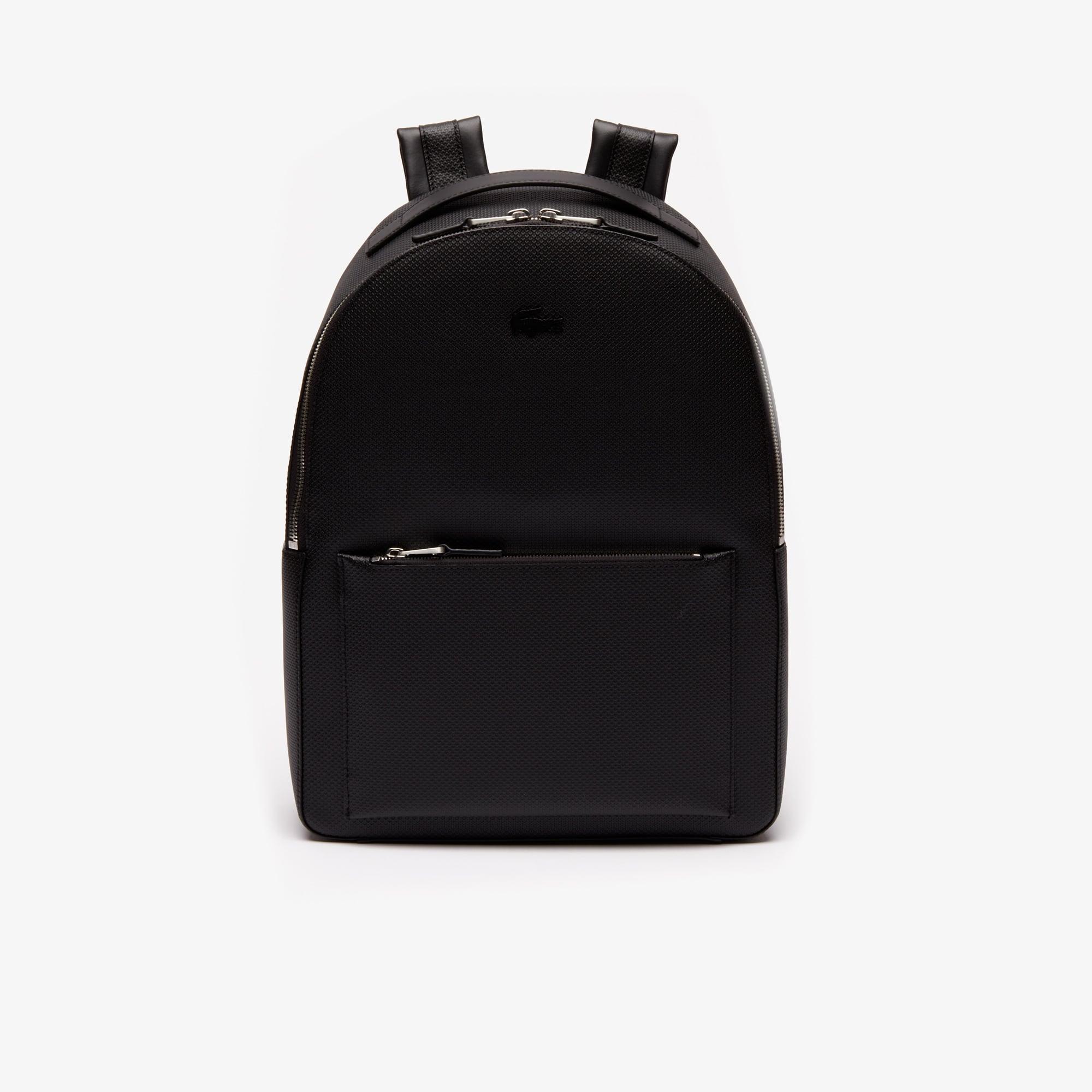 라코스테 Lacoste Mens Chantaco Soft Leather Zip Backpack,BLACK