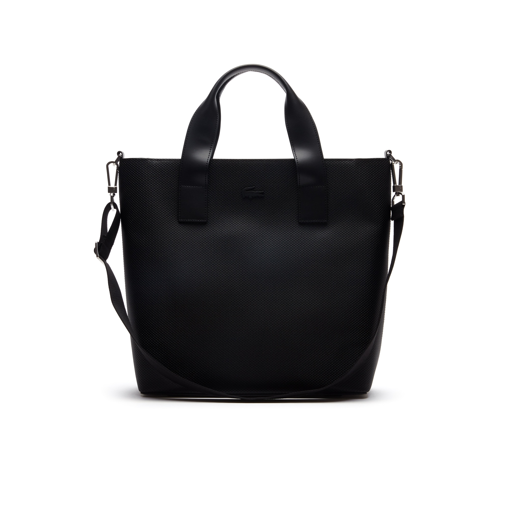 라코스테 Lacoste Mens Chantaco Pique Leather Vertical Tote Bag,BLACK