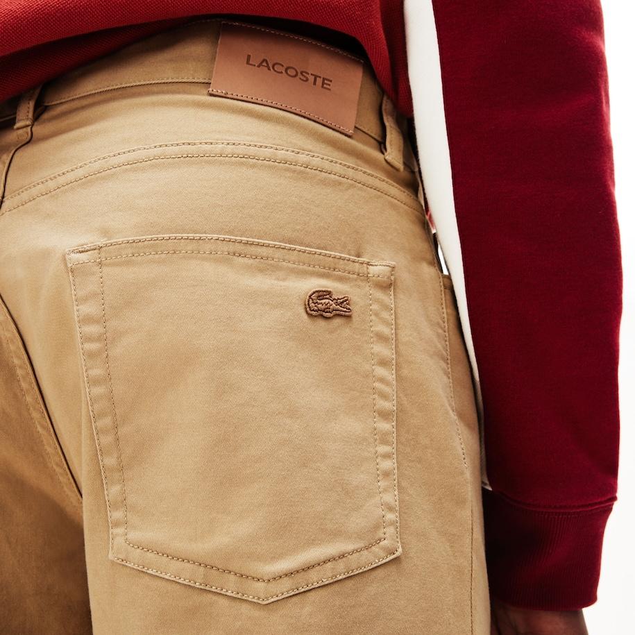 Pantalones Slim Fit Con 5 Bolsillos En Algodon Stretch Para Hombre Lacoste