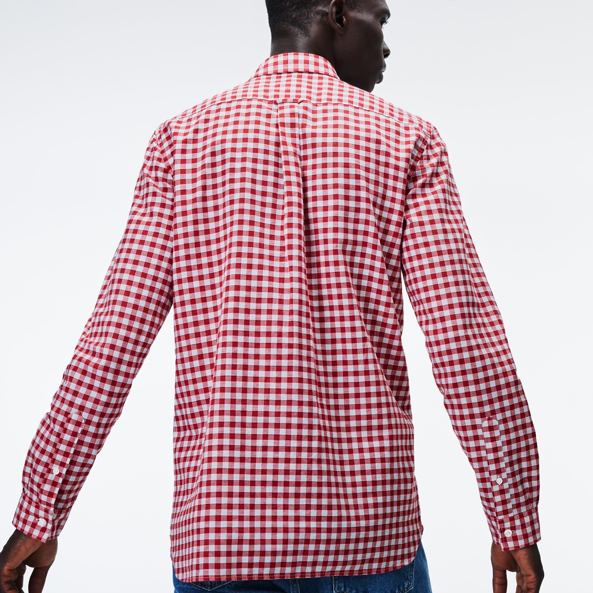 214d279931 Men s Regular Fit Check Cotton And Linen Blend Shirt