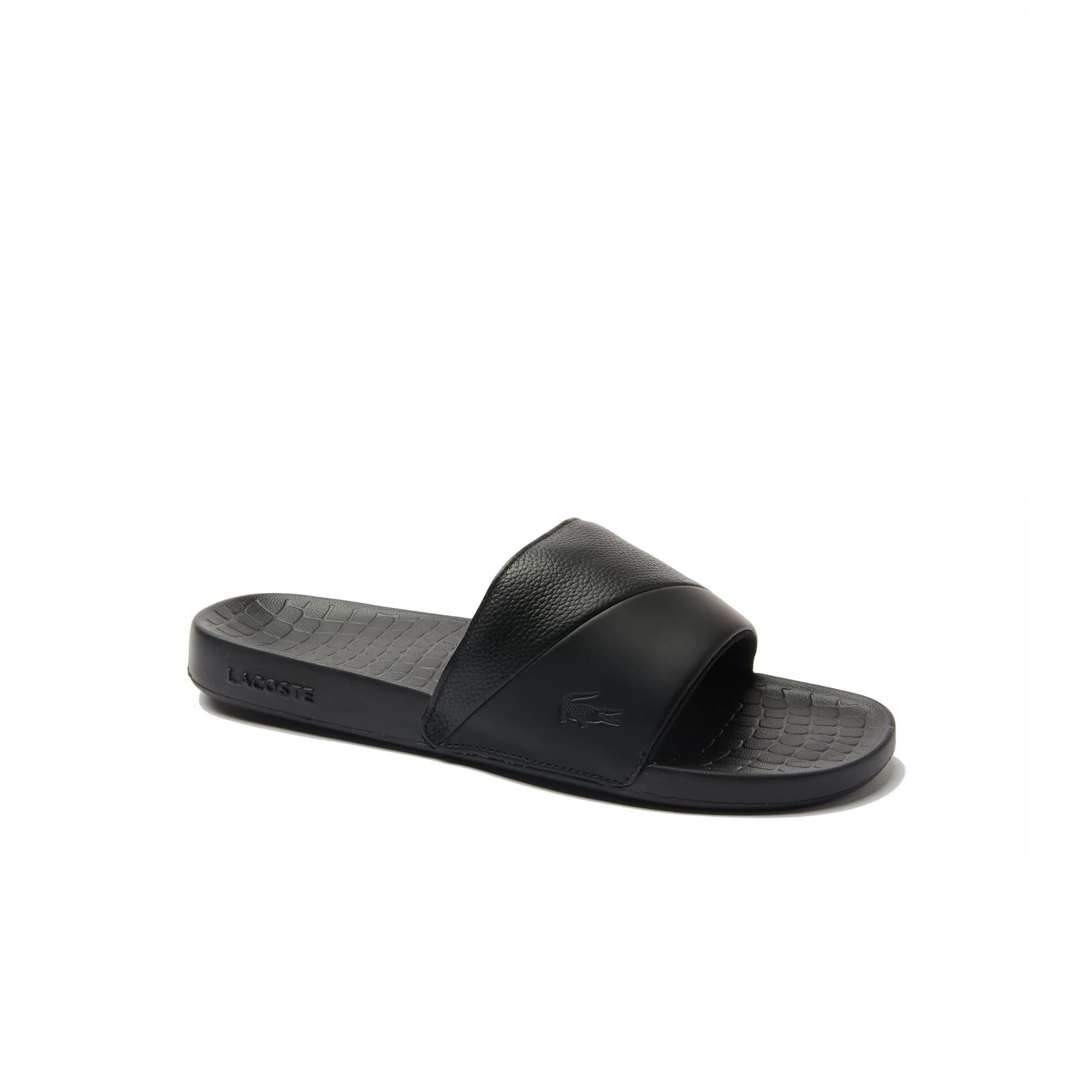 라코스테 Lacoste Men's Fraisier Leather Suede Slides,blk/blk