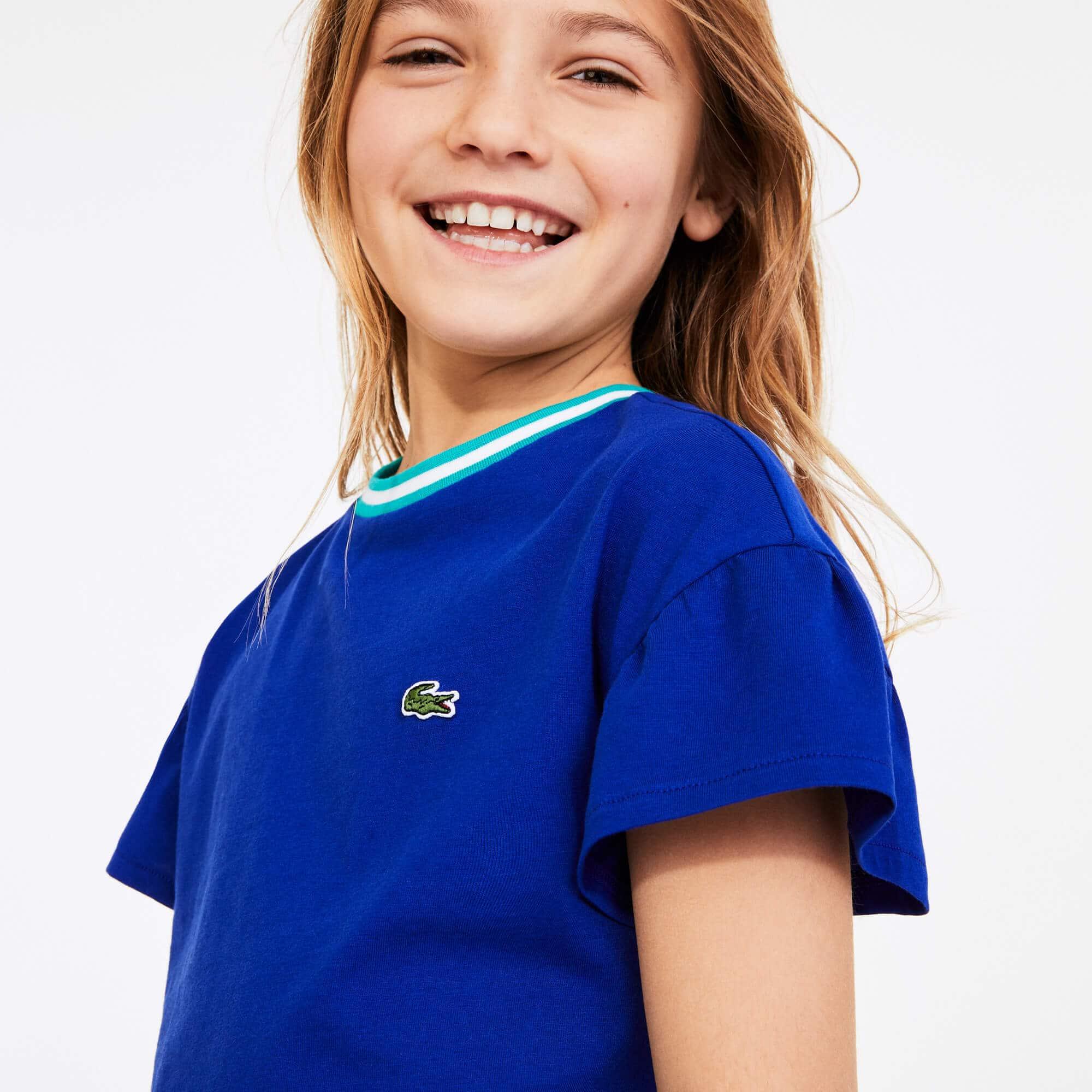 라코스테 Lacoste Girls Striped Crew Neck Cotton T-shirt,Blue / Green / White • E7T