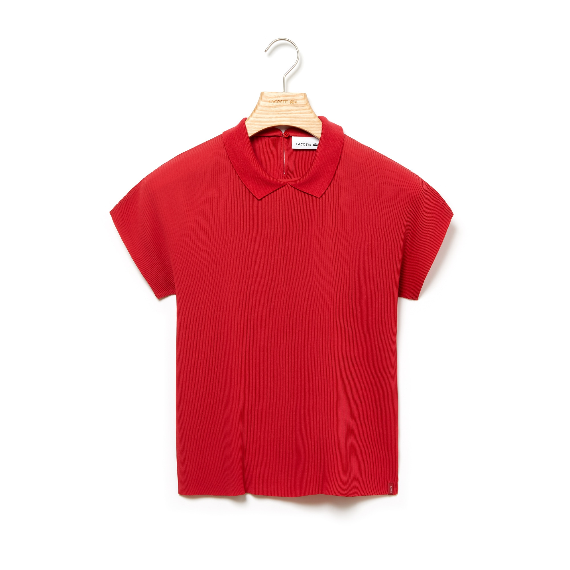 라코스테 Lacoste Womens Polo Collar Crepe Top,Red