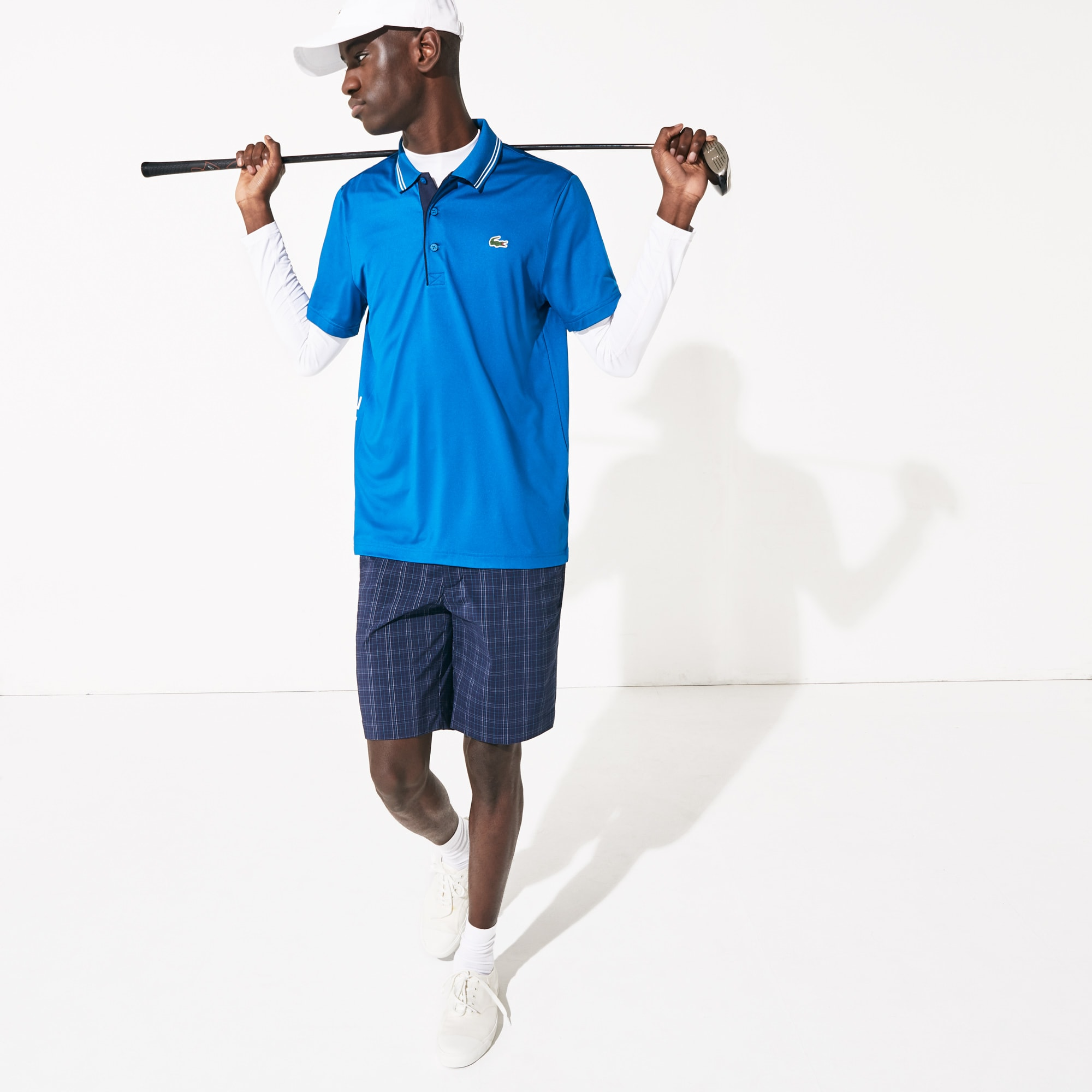 라코스테 Lacoste Mens SPORT Signature Breathable Golf Polo Shirt,Blue / Navy Blue / White - PS2