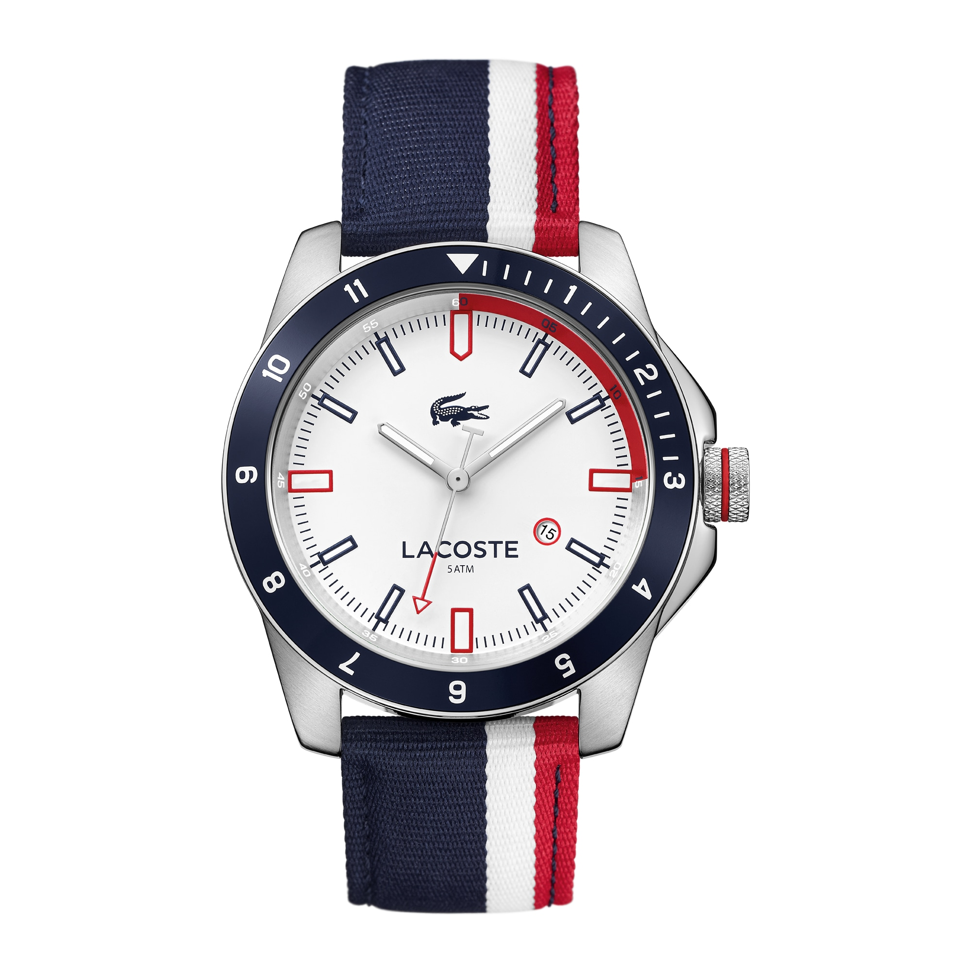 Men's Durban Red and White stripes Nylon Strap Watch