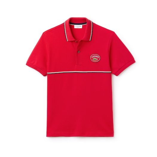 라코스테 Lacoste Mens Regular Fit Striped Accents Petit Pique Polo,Red / Navy Blue / White - AV4 (Selected colour)