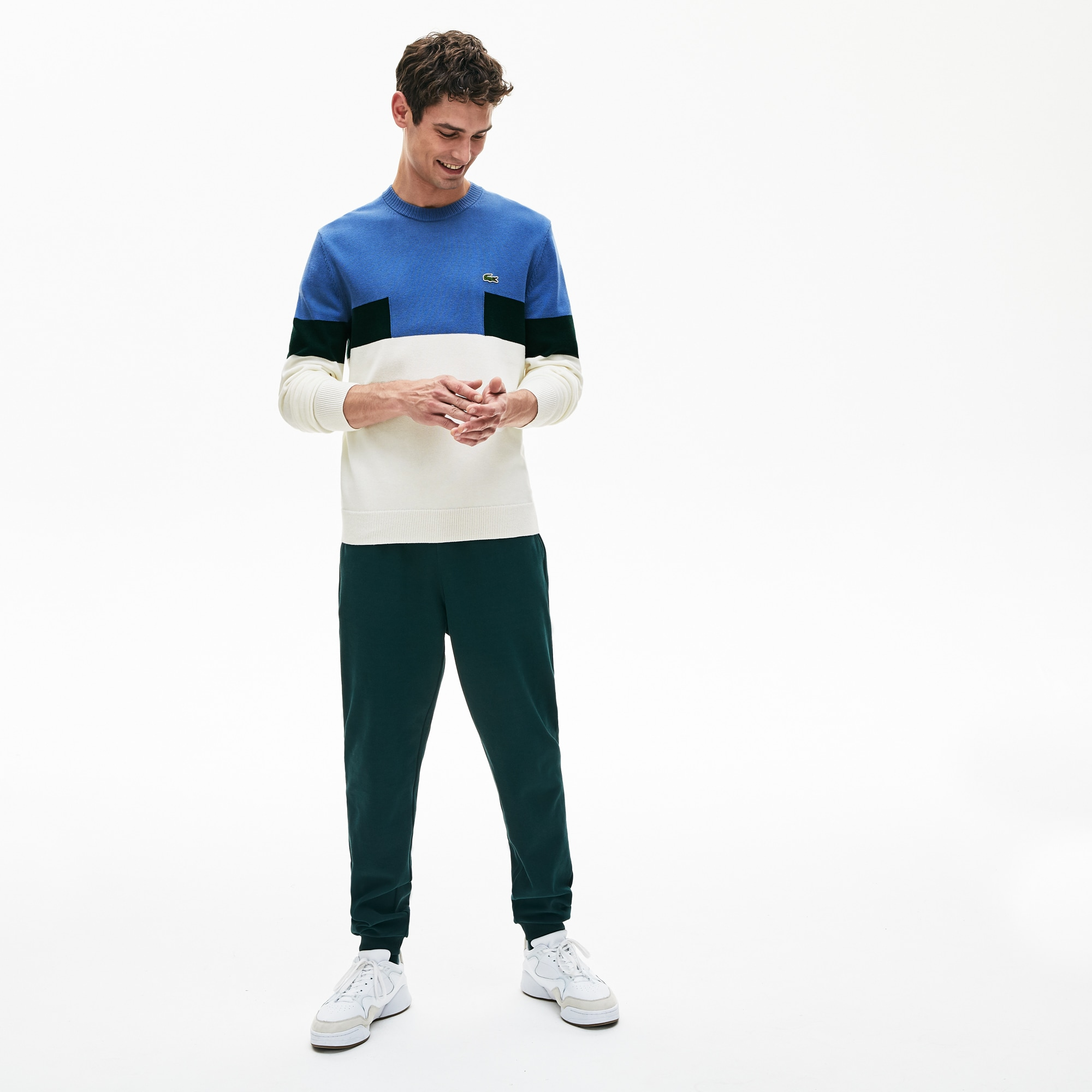 Men's Crew Neck Colorblock Wool And Cotton Blend Sweater