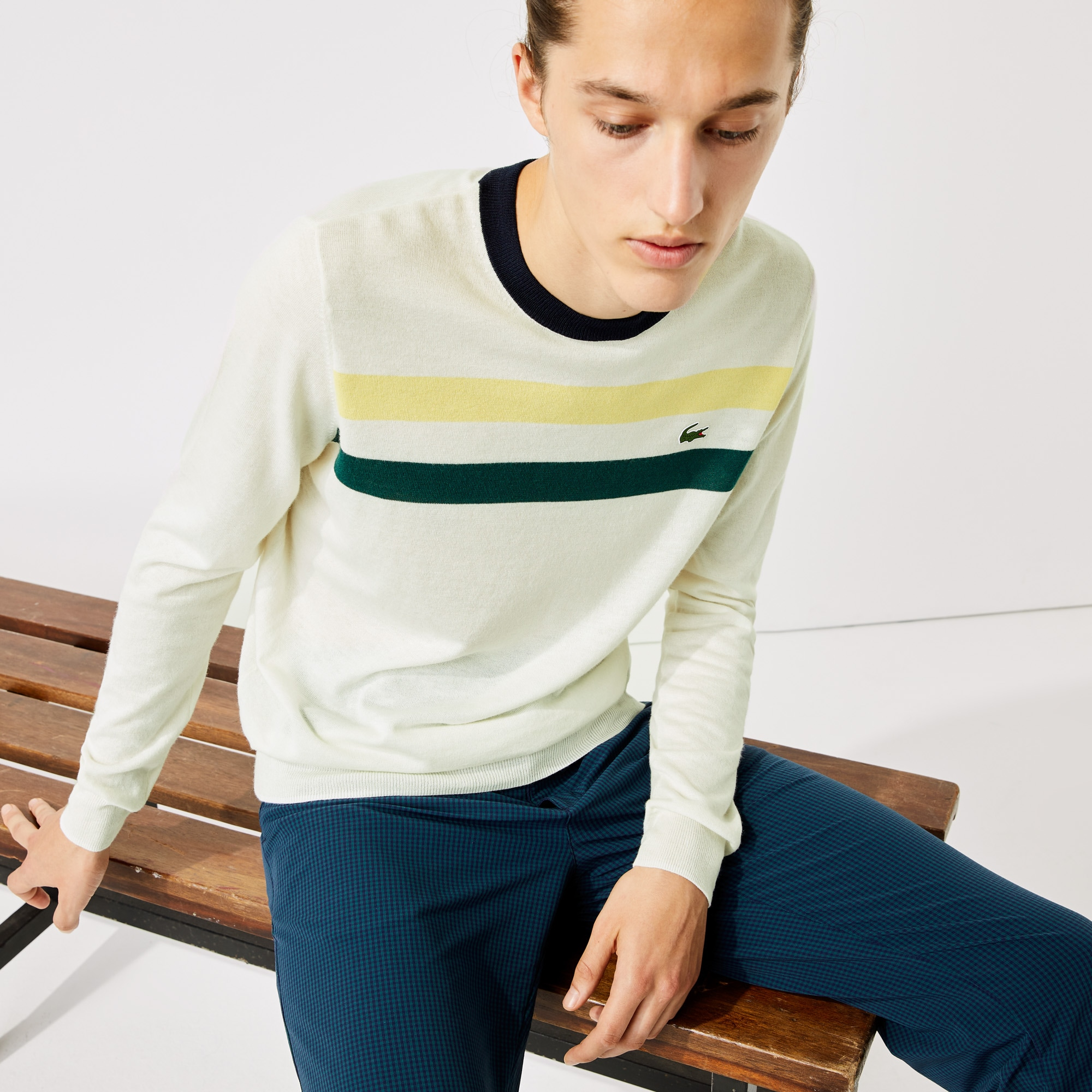 라코스테 스포츠 골프 스웨터 Mens Lacoste SPORT Breathable Striped Wool Golf Sweater,White / Yellow / Green / Navy Blue • GEN