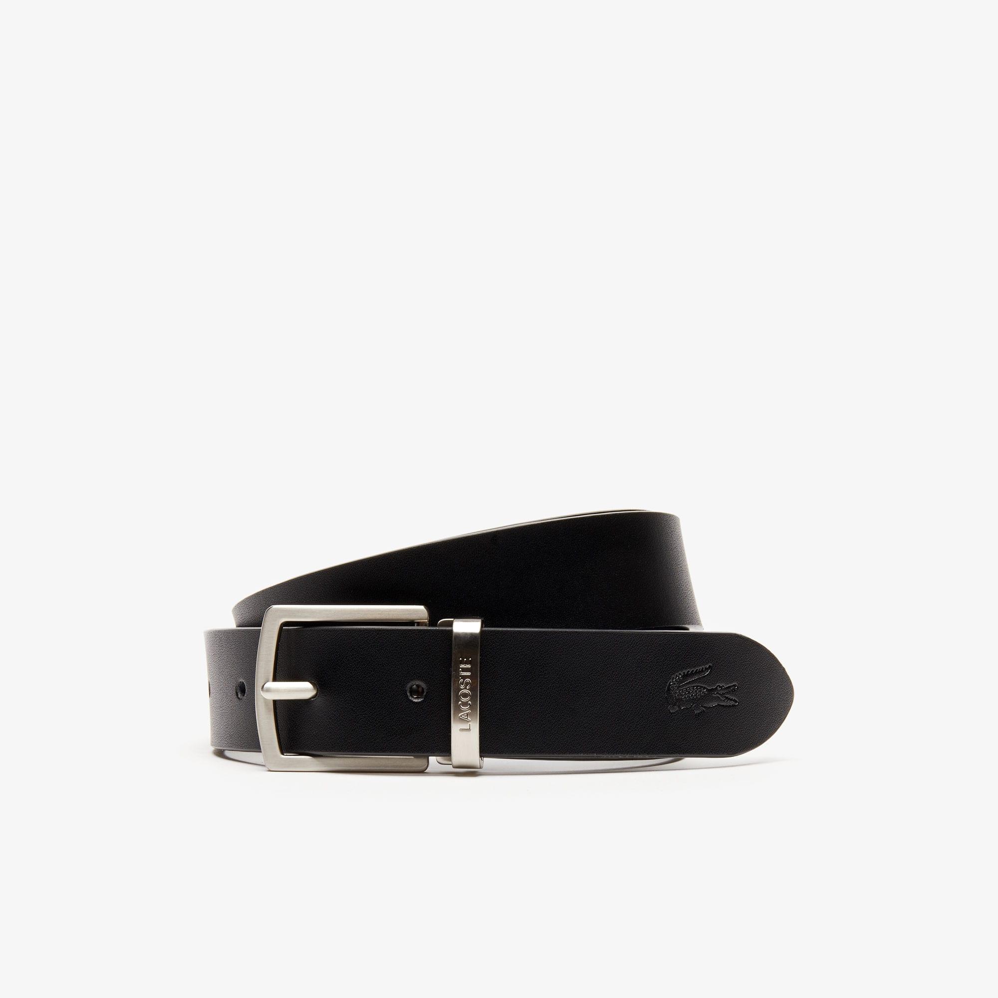 Lacoste Belts Men's Reversible Leather Belt And 2 Buckles Gift Set
