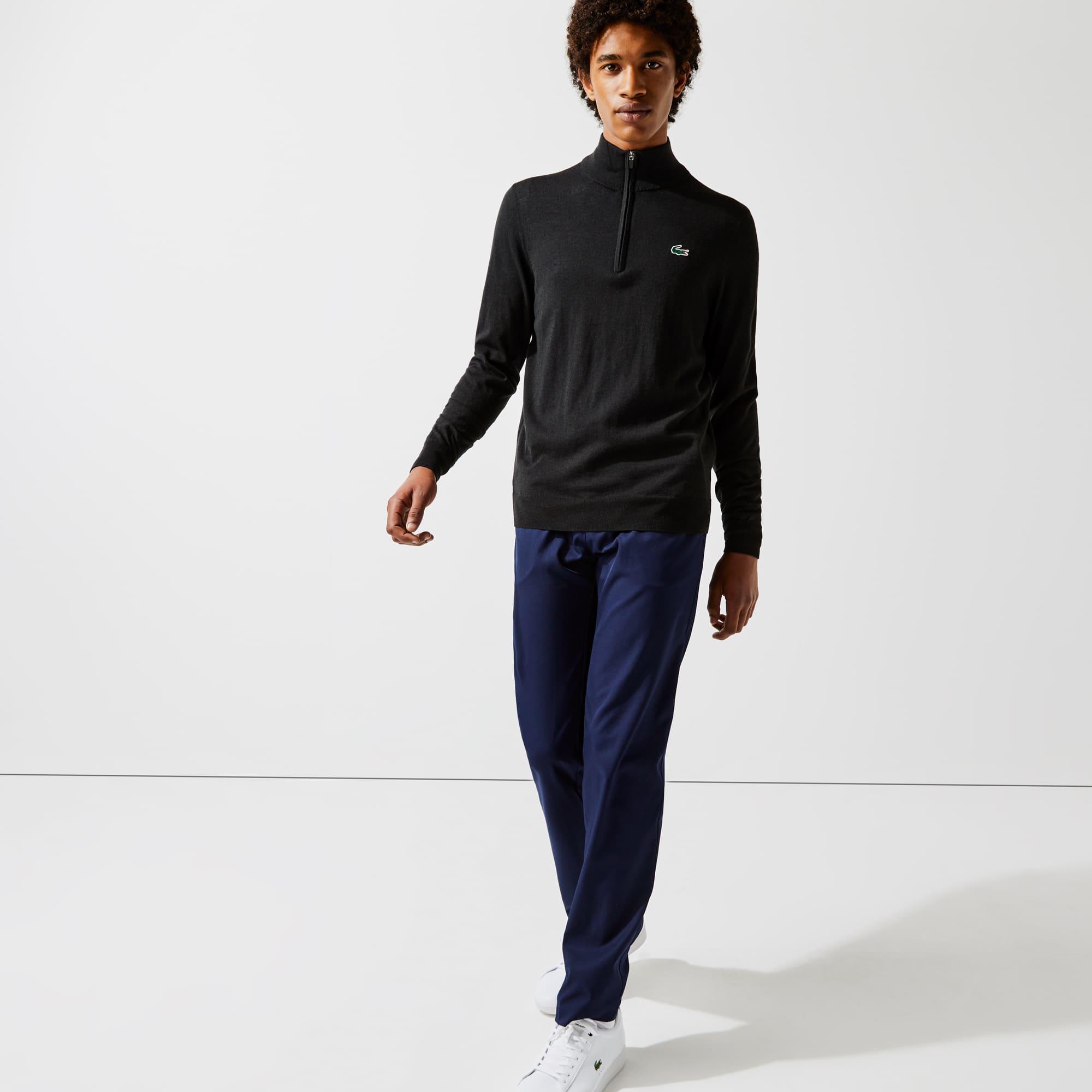 라코스테 Lacoste Mens SPORT Breathable-Knit Zip-Up Golf Sweater,Black - 031