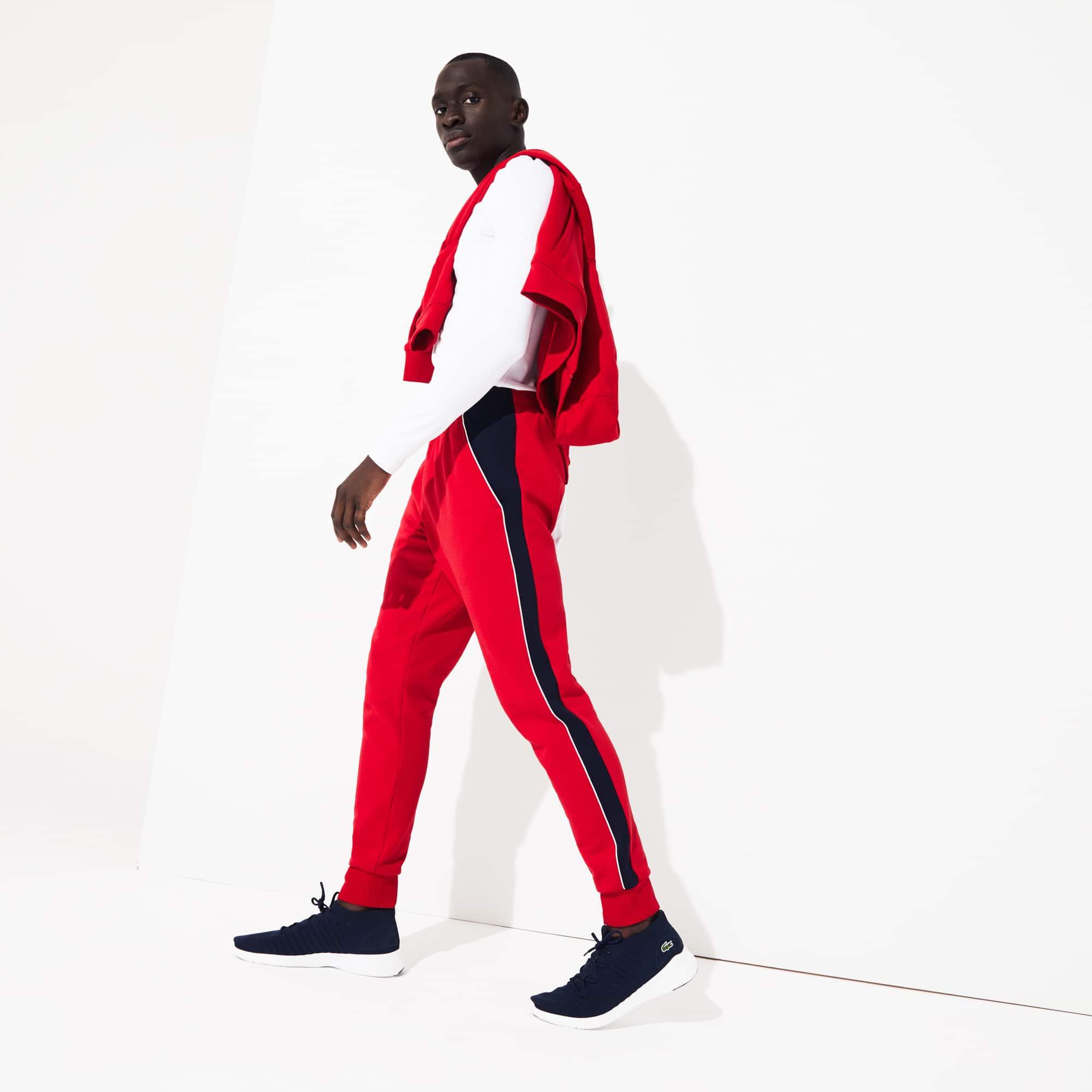라코스테 Lacoste Mens SPORT Colorblock Bands Fleece Sweatpants,Red / Navy Blue / White - 457