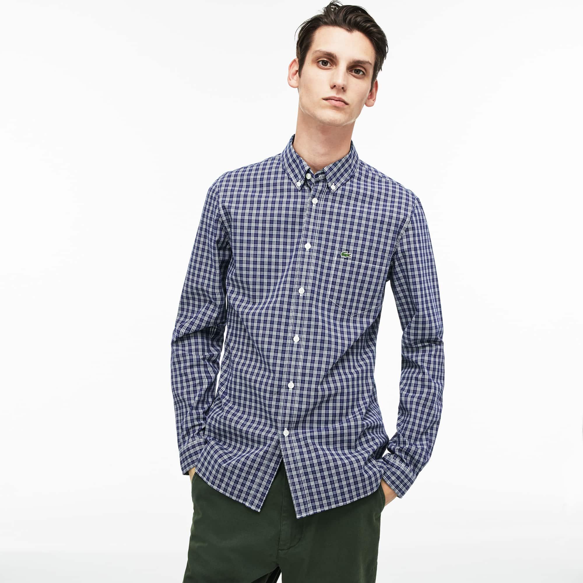 Men's Slim Fit Colored Check Stretch Cotton Poplin Shirt
