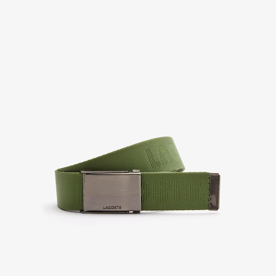 Men's Engraved Lacoste Plate Buckle Woven Belt