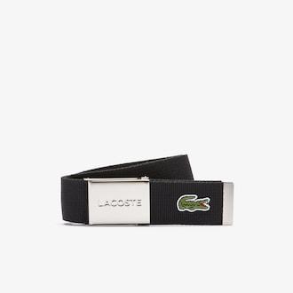 라코스테 Lacoste Mens Made in France Woven Fabric Belt,BLACK