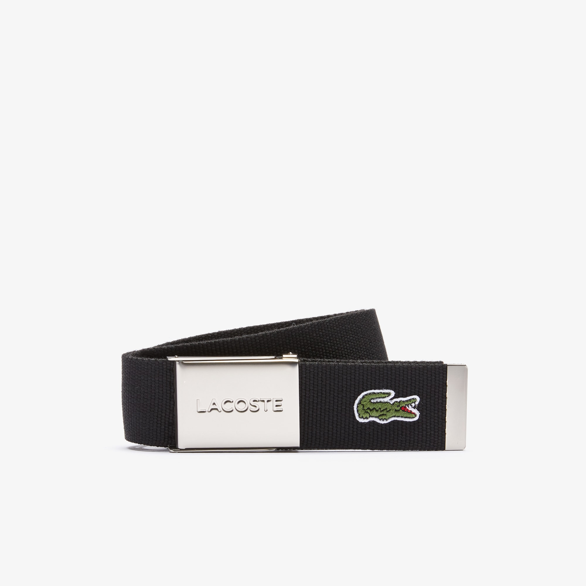 Men's Made in France Edition Lacoste Engraved Buckle Woven Belt
