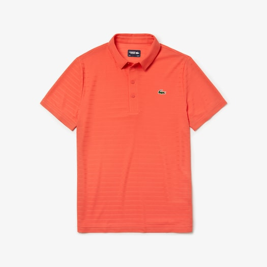 라코스테 Lacoste Mens SPORT Golf Striped Tech Jacquard Jersey Polo Shirt,Red - 6PZ (Selected colour)