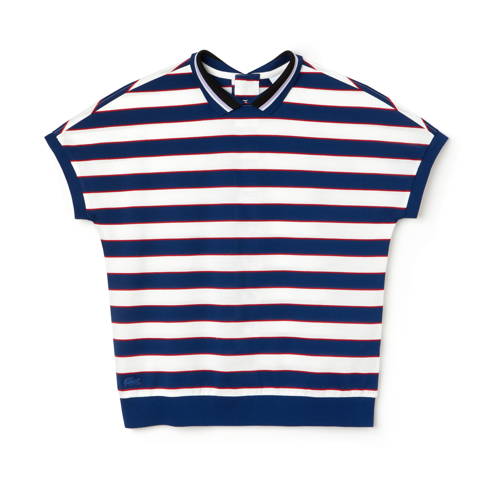 Women's Back Button Colorblock Striped Piqué Polo