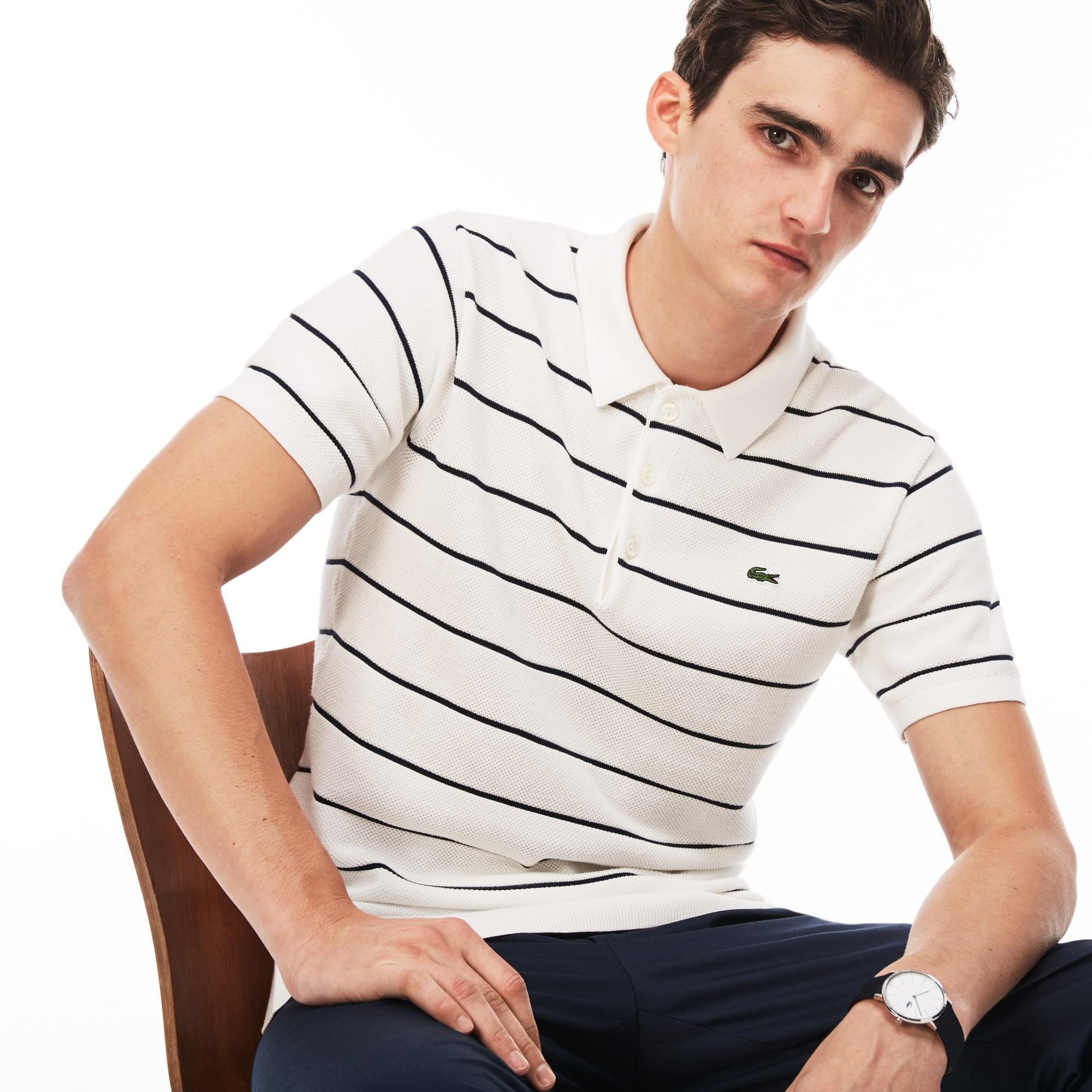 Men's Polo Collar Piqué Sweater