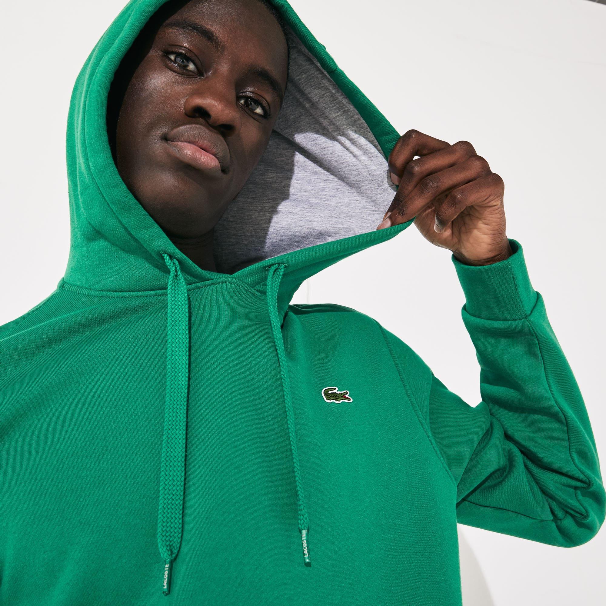 라코스테 Lacoste Mens SPORT Hooded Fleece Tennis Sweatshirt,Green / Grey Chine - NE6