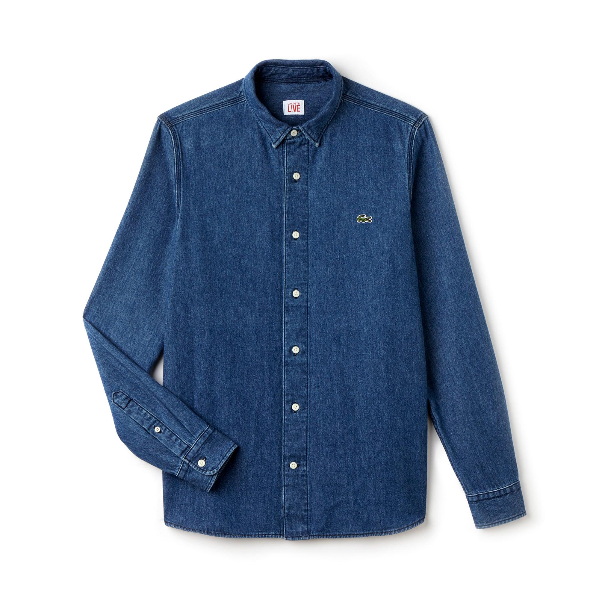 chemise en jean slim fit lacoste live avec poche lacoste. Black Bedroom Furniture Sets. Home Design Ideas