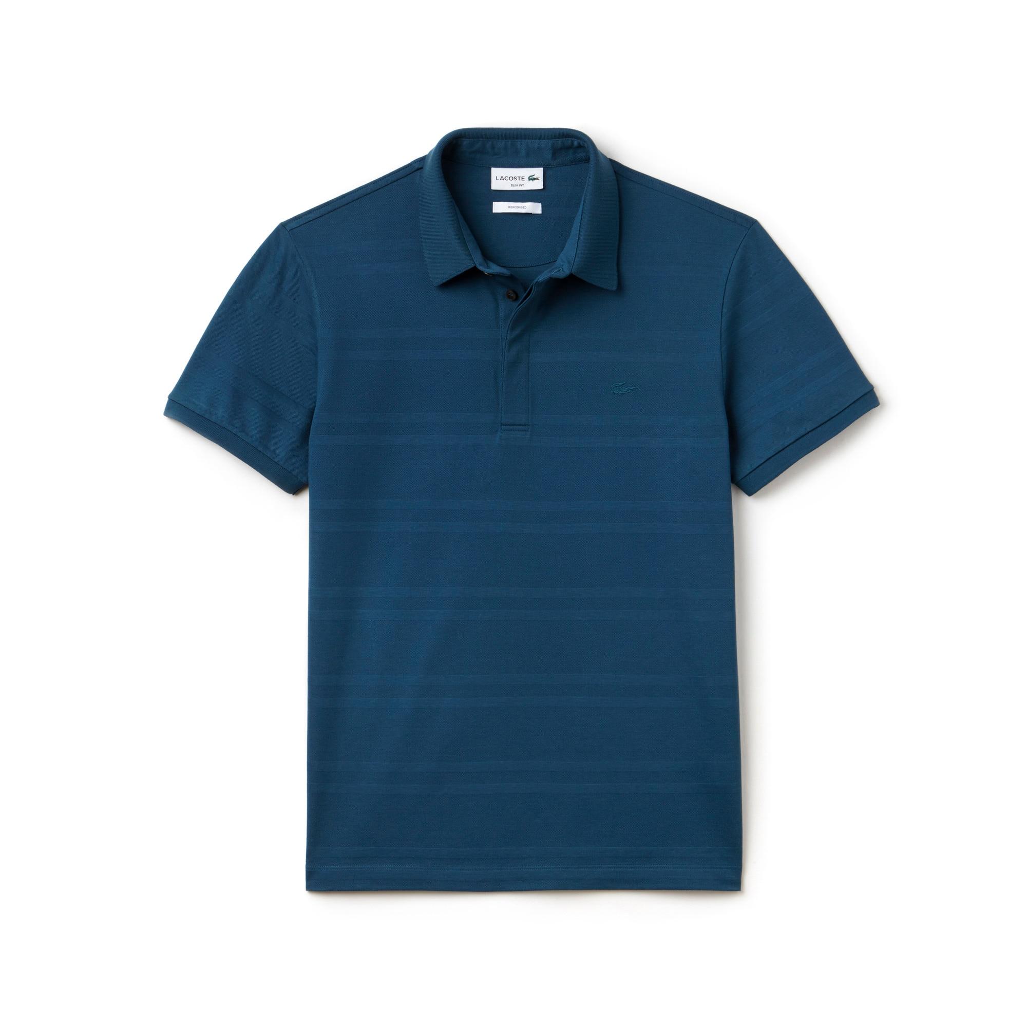 Men's Slim Fit Striped Mercerized Cotton Polo Shirt