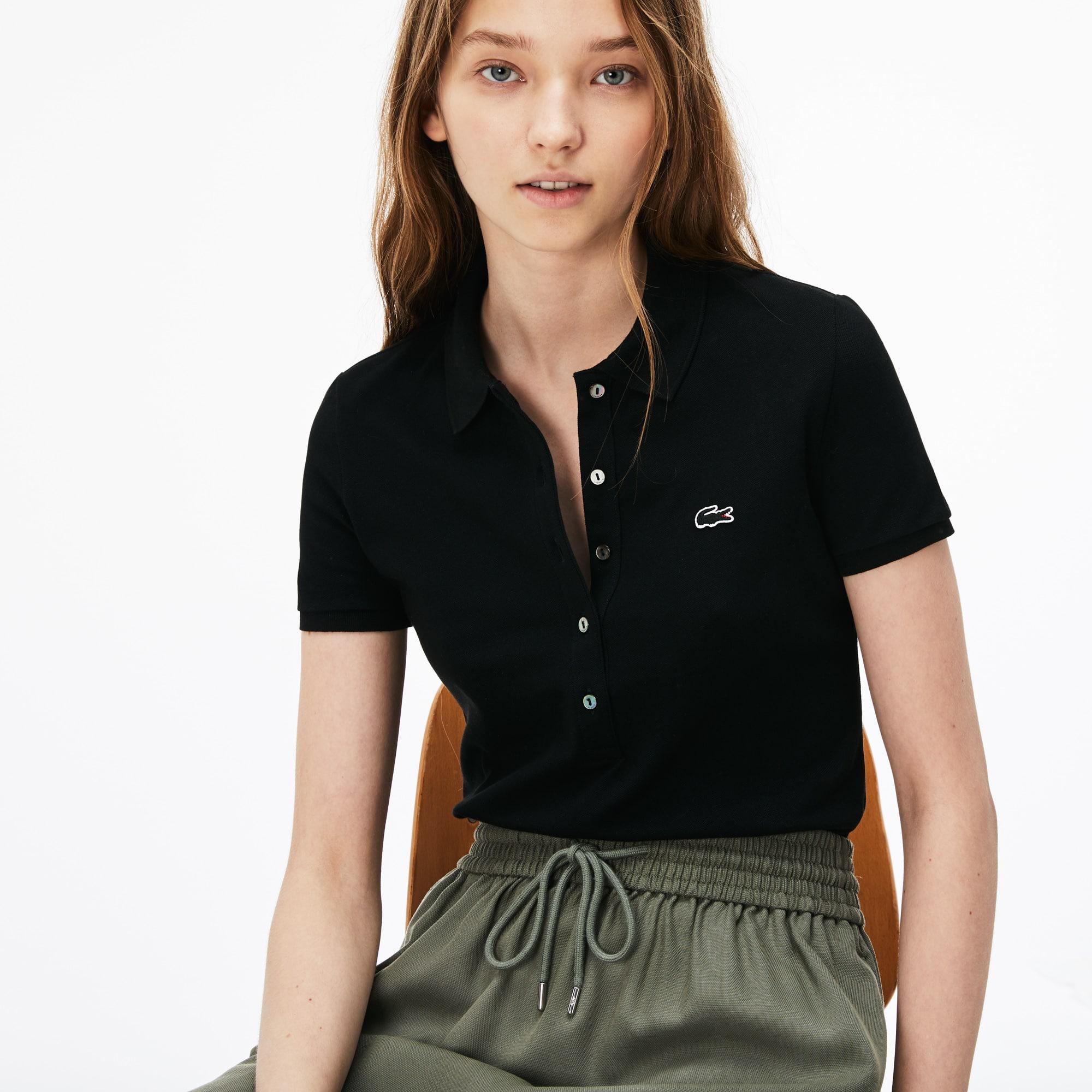 773f6231 Women's Slim Fit Stretch Mini Cotton Piqué Polo Shirt