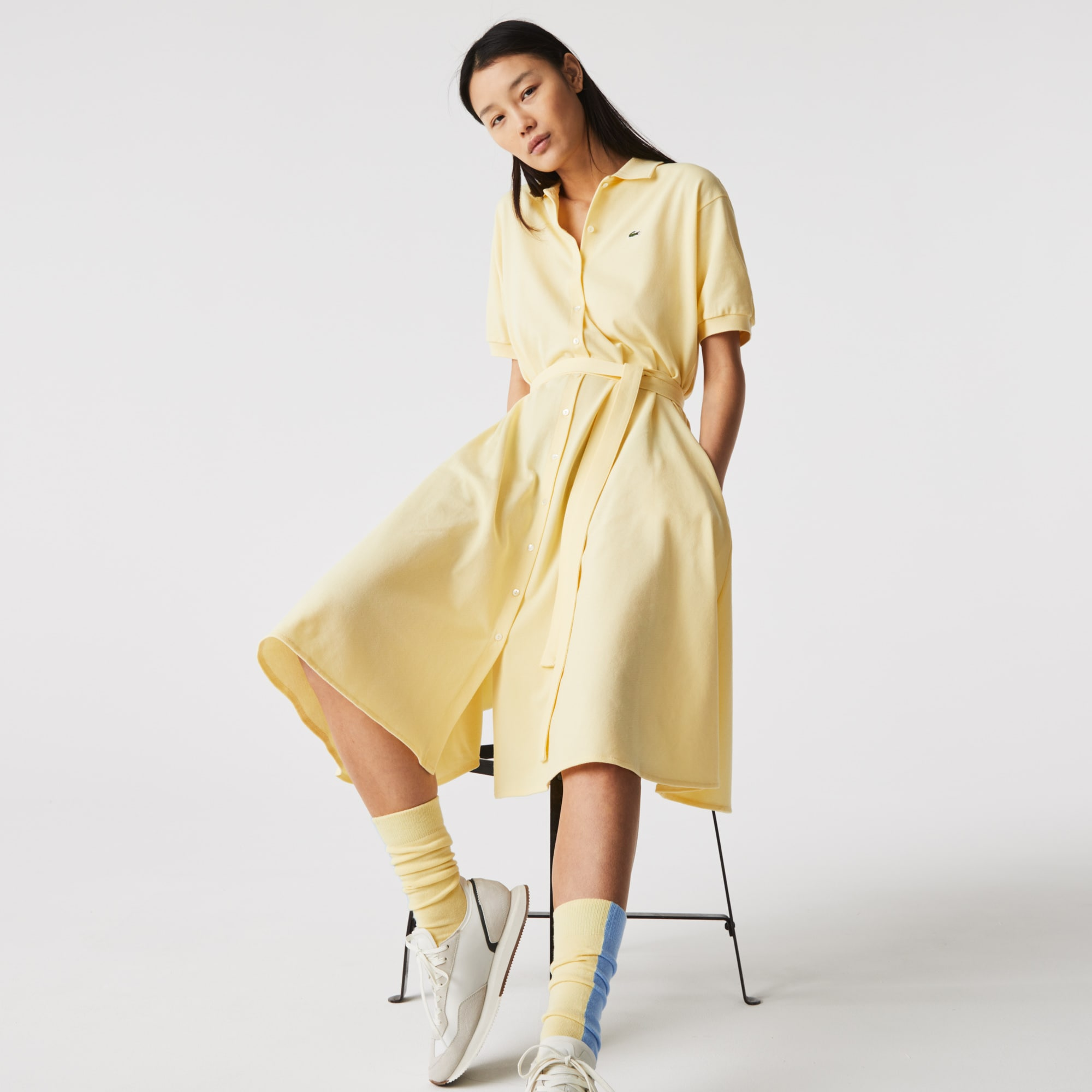 Lacoste Womens Cotton Pique Belted Polo Dress
