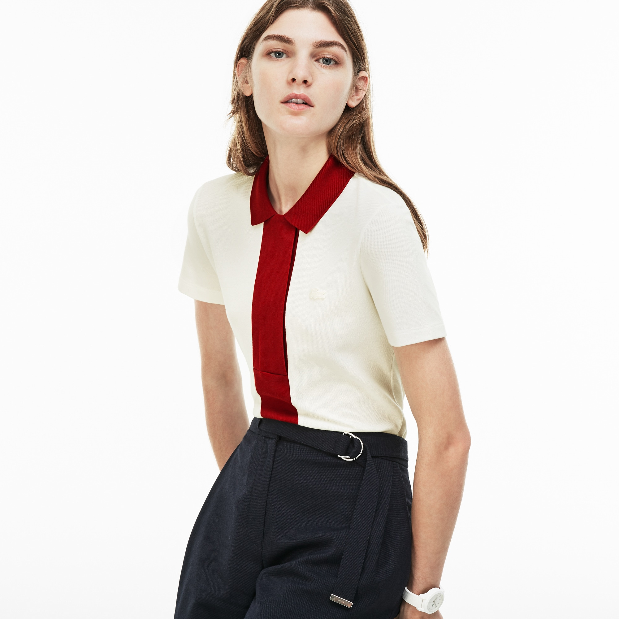 Women's  Slim Fit Colorblock Stretch Mini Cotton Piqué Polo