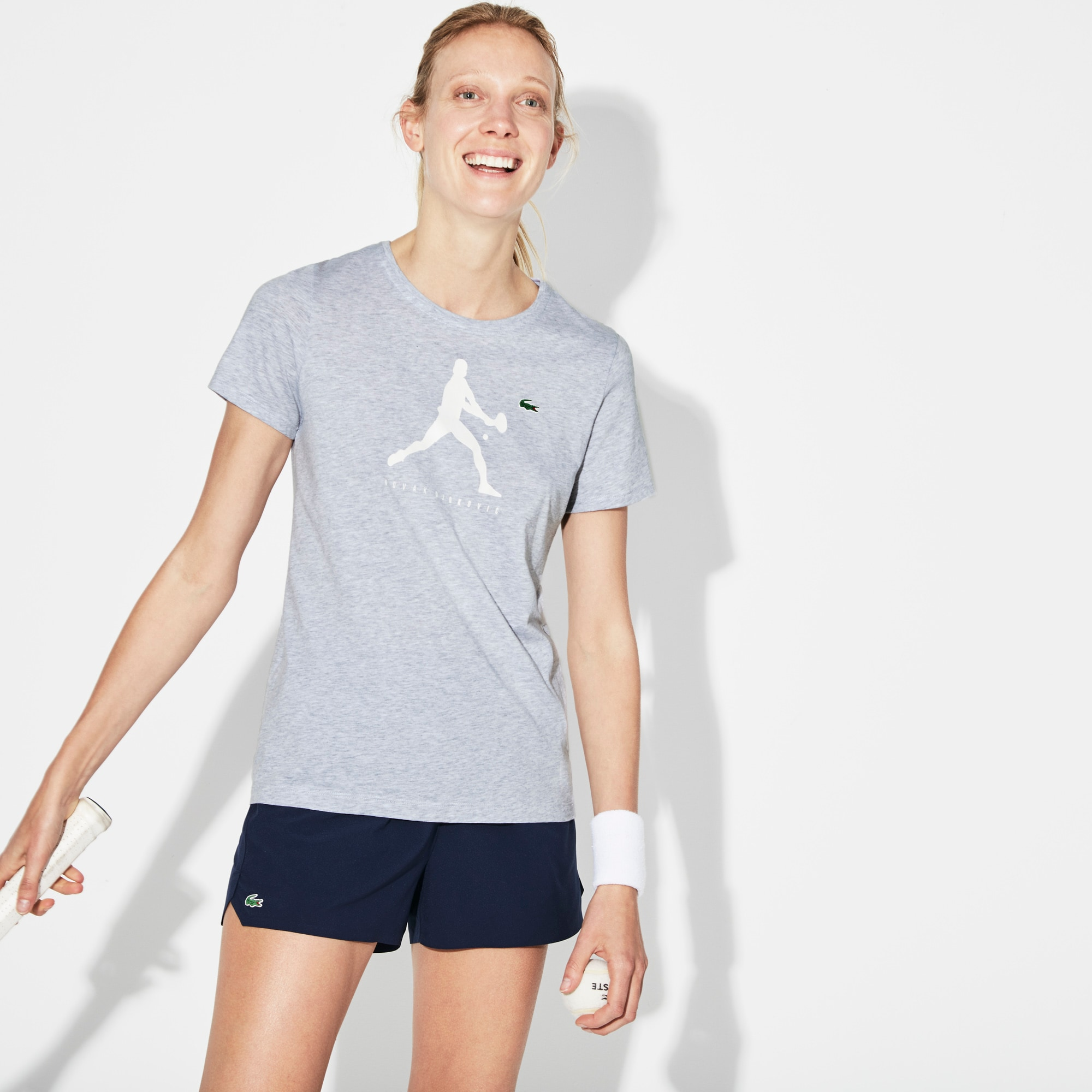 Lacoste Womens SPORT Print T-Shirt - Novak Djokovic Supporter Collection